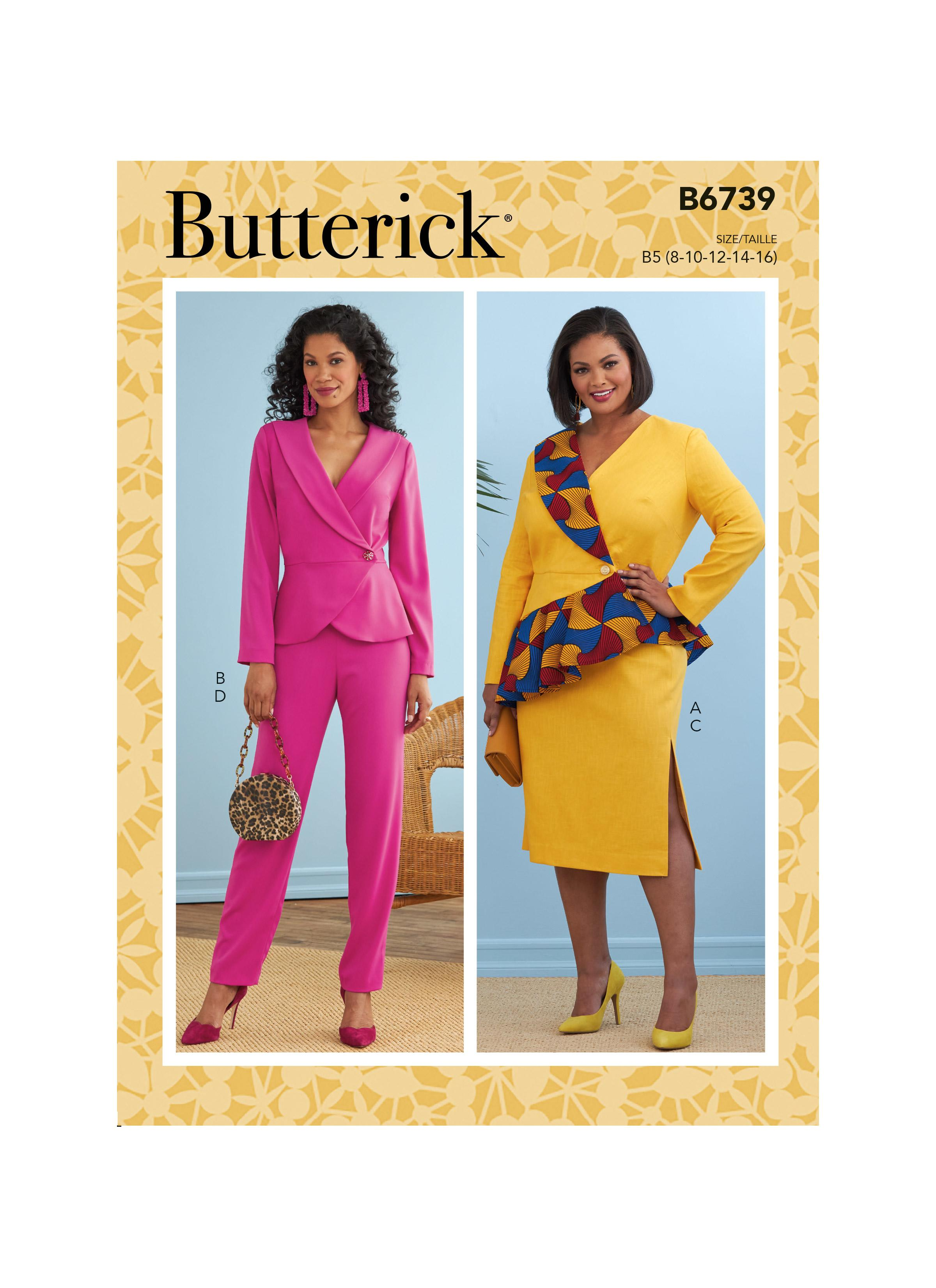 Butterick B6739 Misses' Jacket, Dress, Top, Skirt & Pants