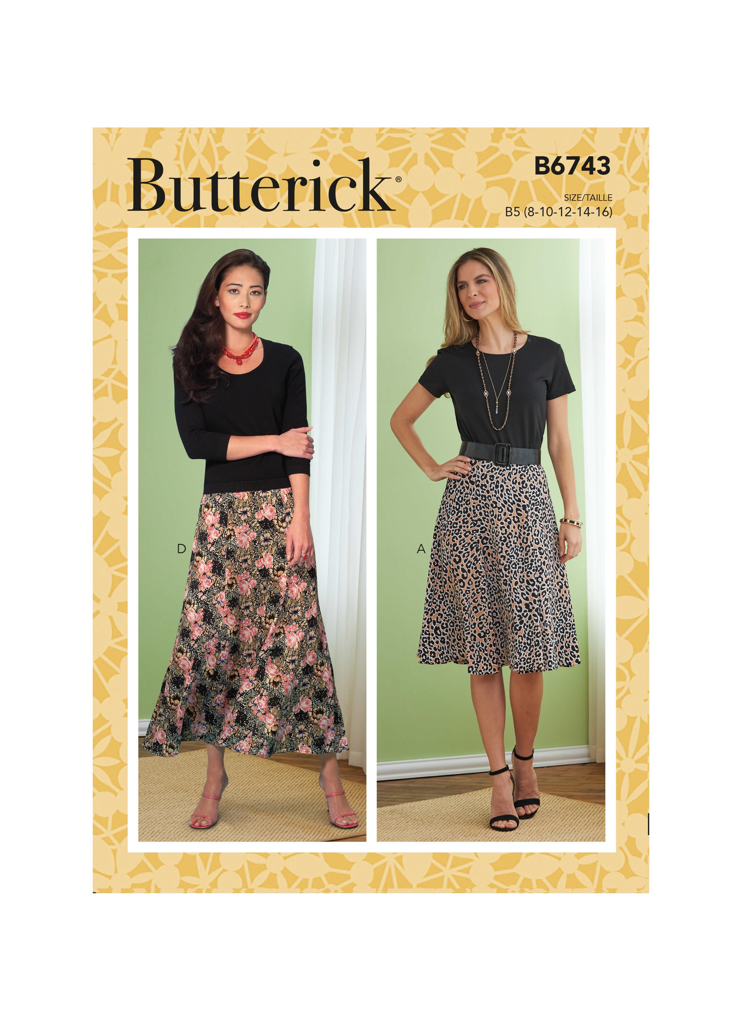 Butterick B6743 Misses'/Misses' Petite Gored Skirts