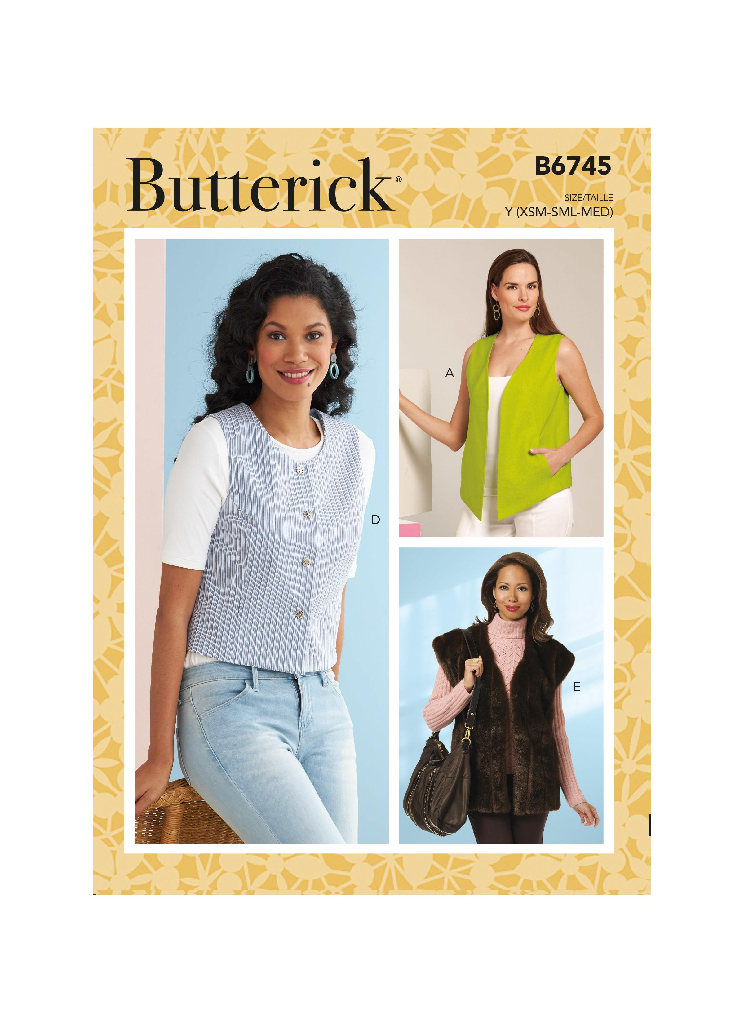Butterick B6745 Misses' Vests in Five Styles