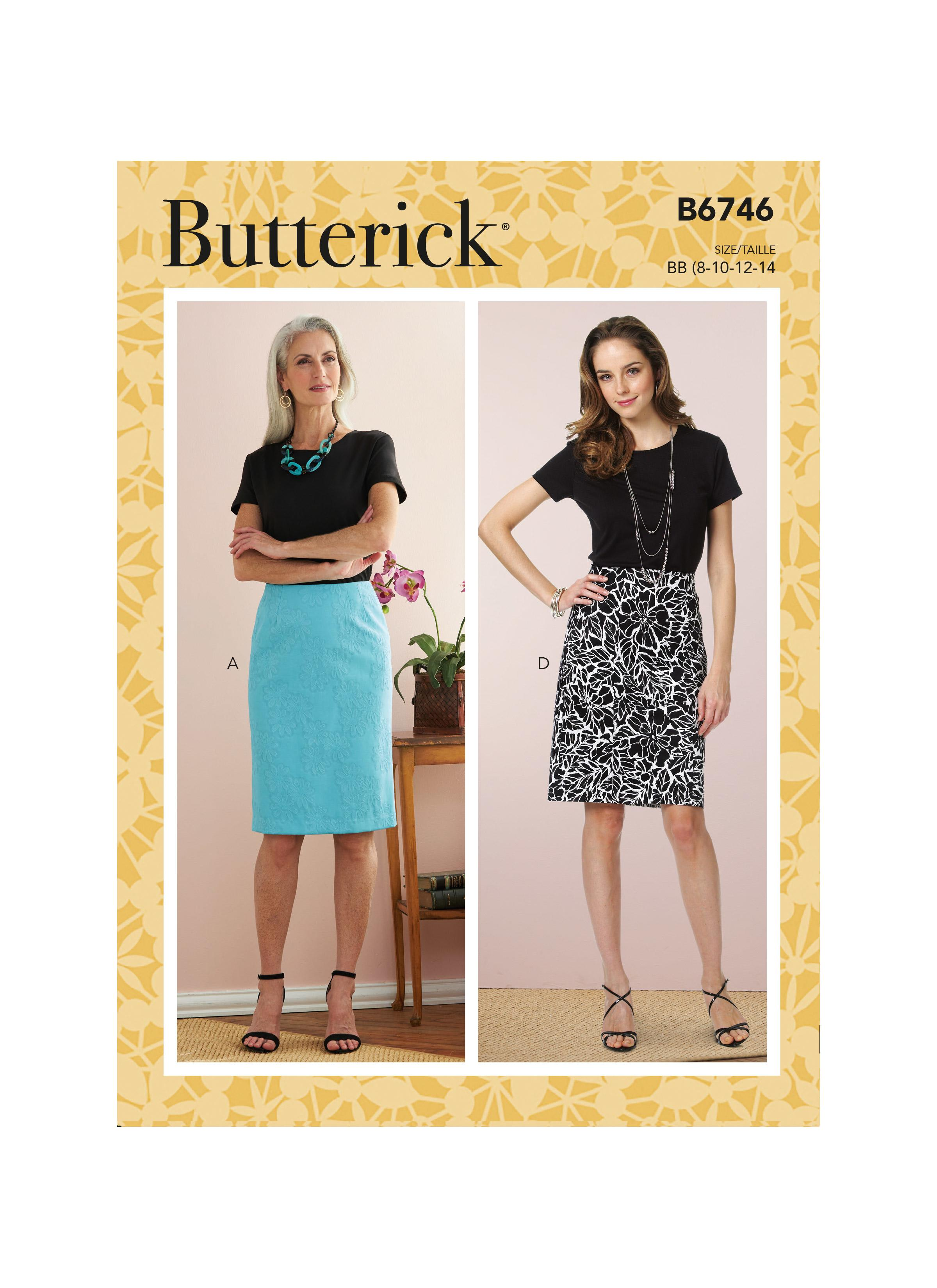 Butterick B6746 Misses' Straight Skirts and Belt