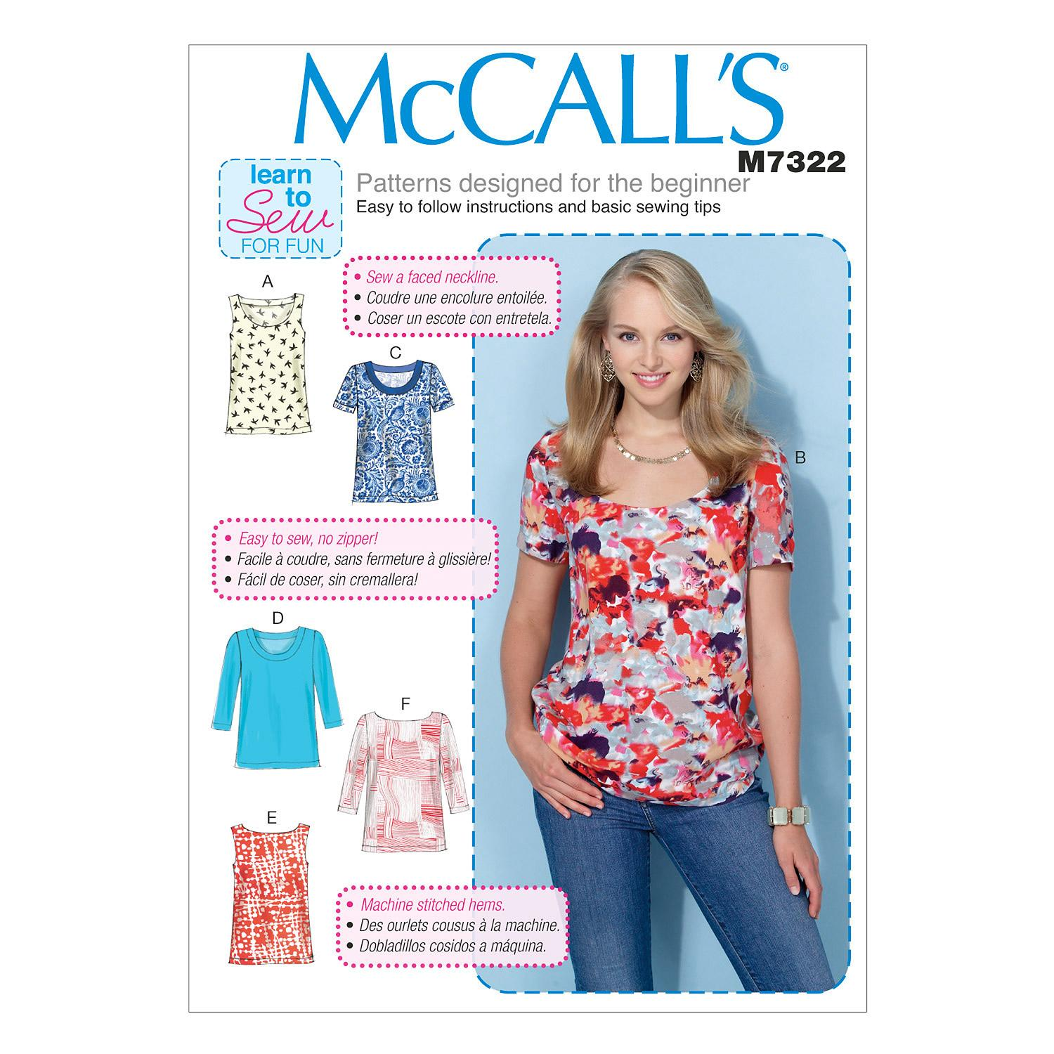 McCalls M7322 Learn To Sew for Fun, Tops/Tunics