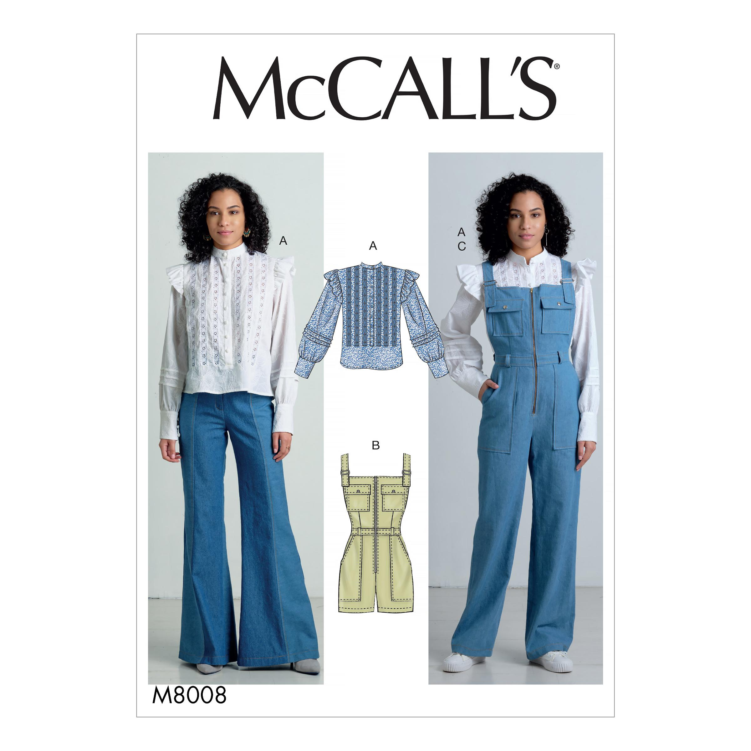 McCalls M8008 Misses Pants, Jumpsuits & Shorts, Misses Tops, Misses Coordinates
