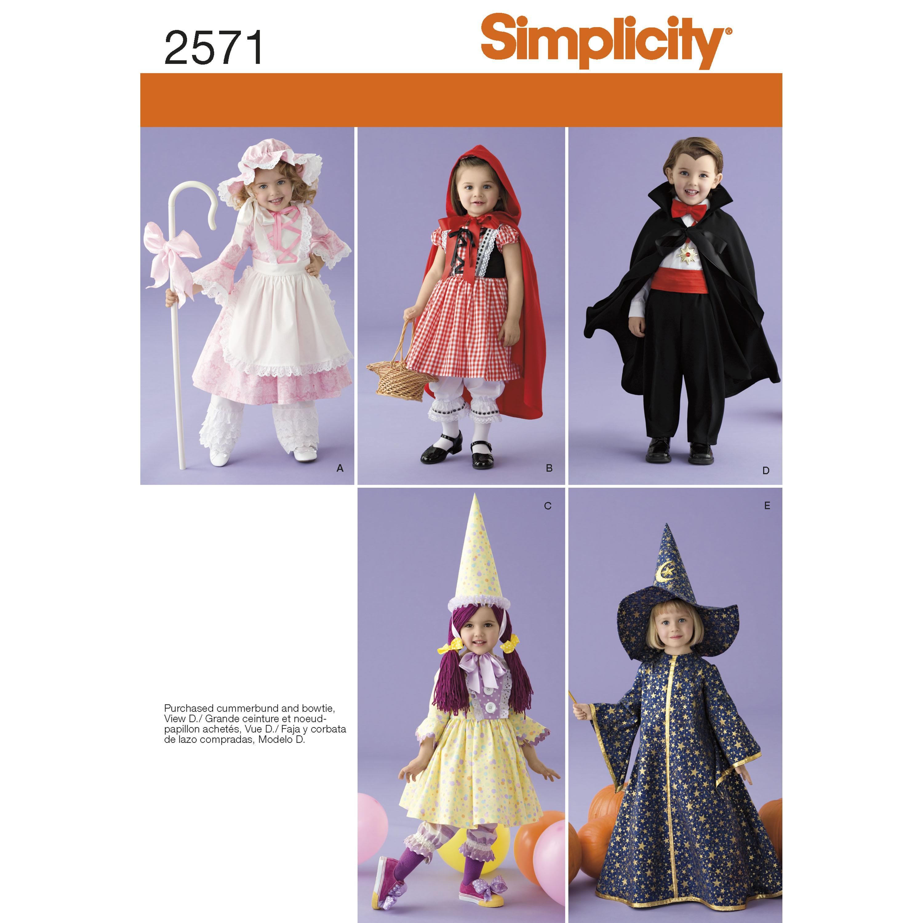 Simplicity S2571 Toddler Costumes