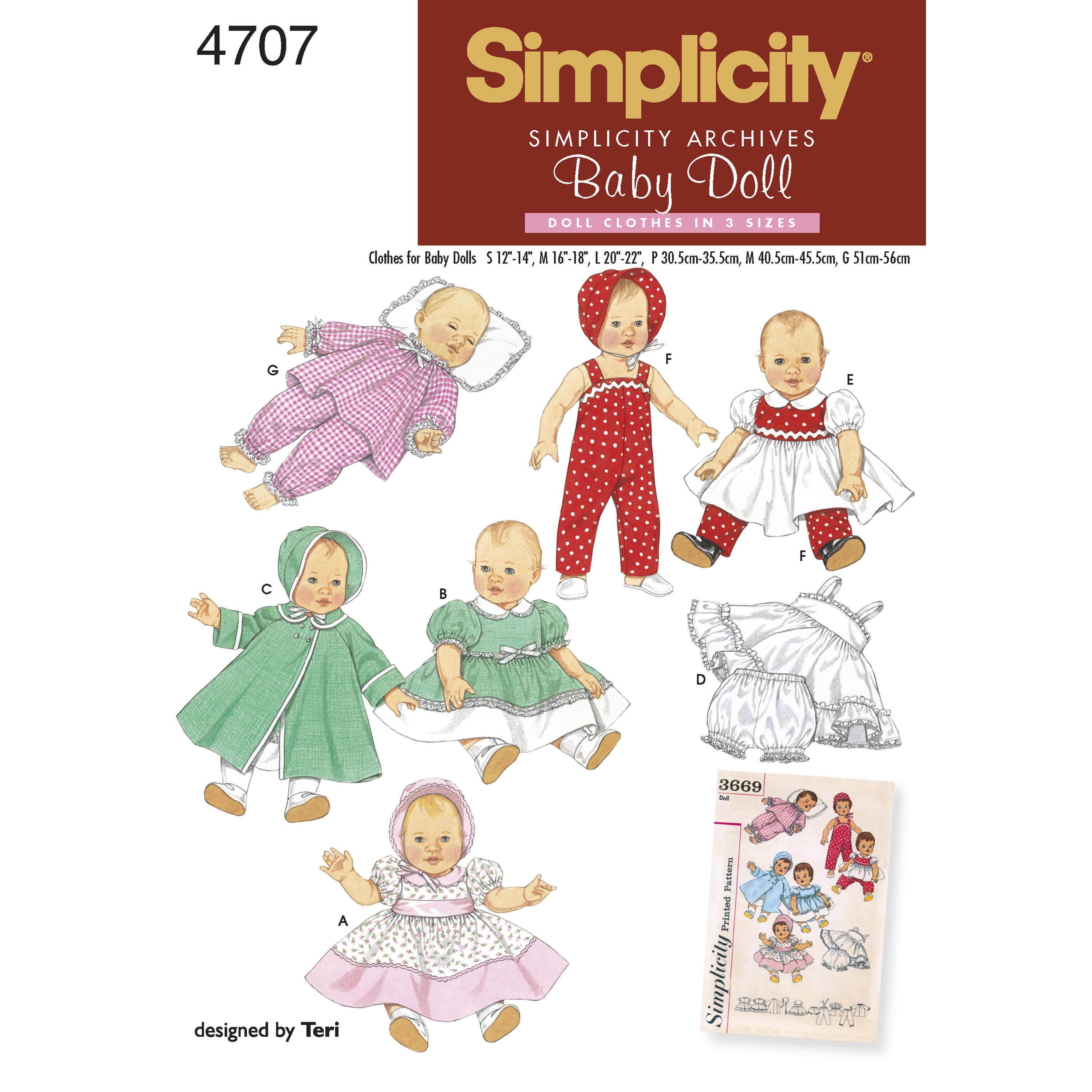 Simplicity S4707 Doll Clothes