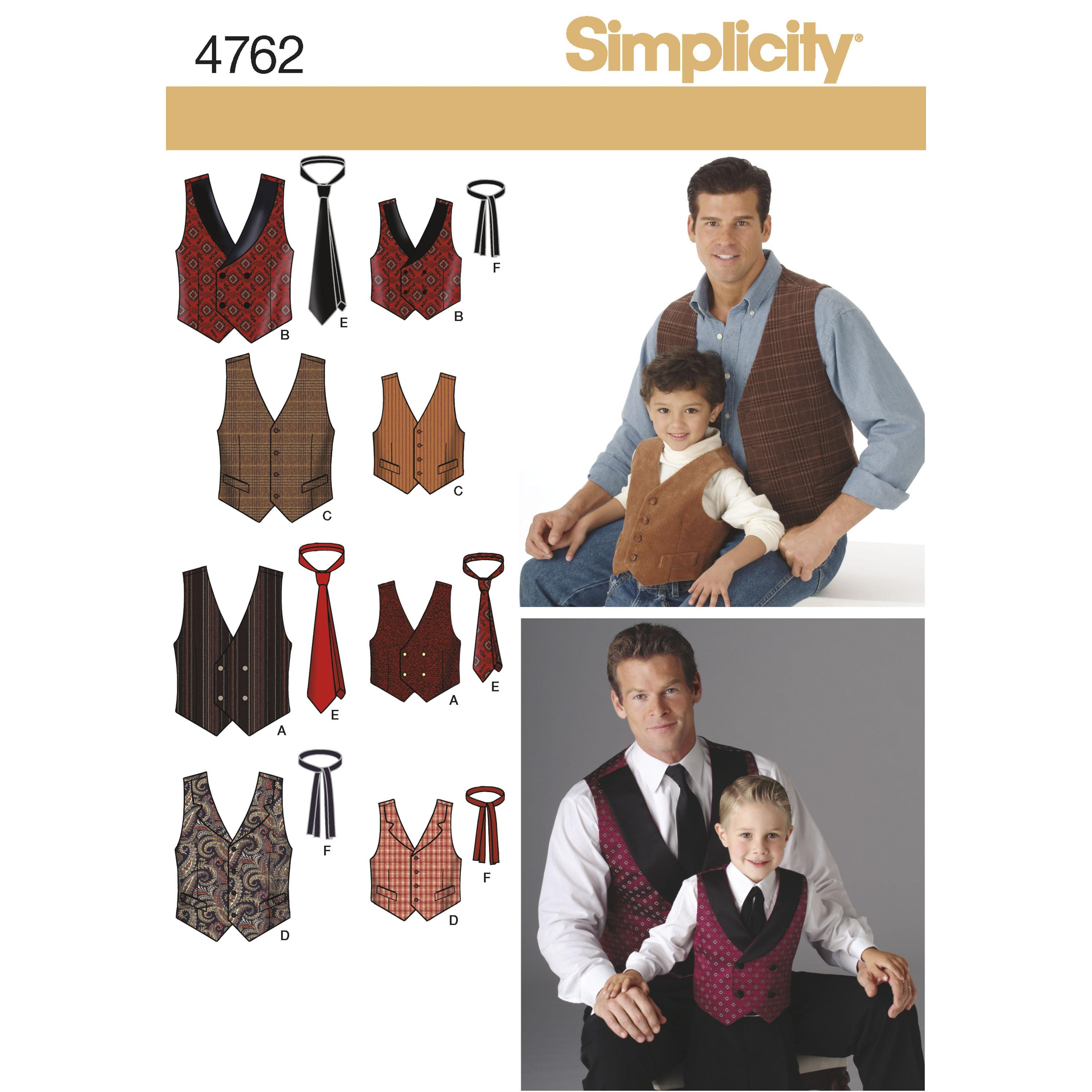 Simplicity S4762 Boys and Men Vests and Ties