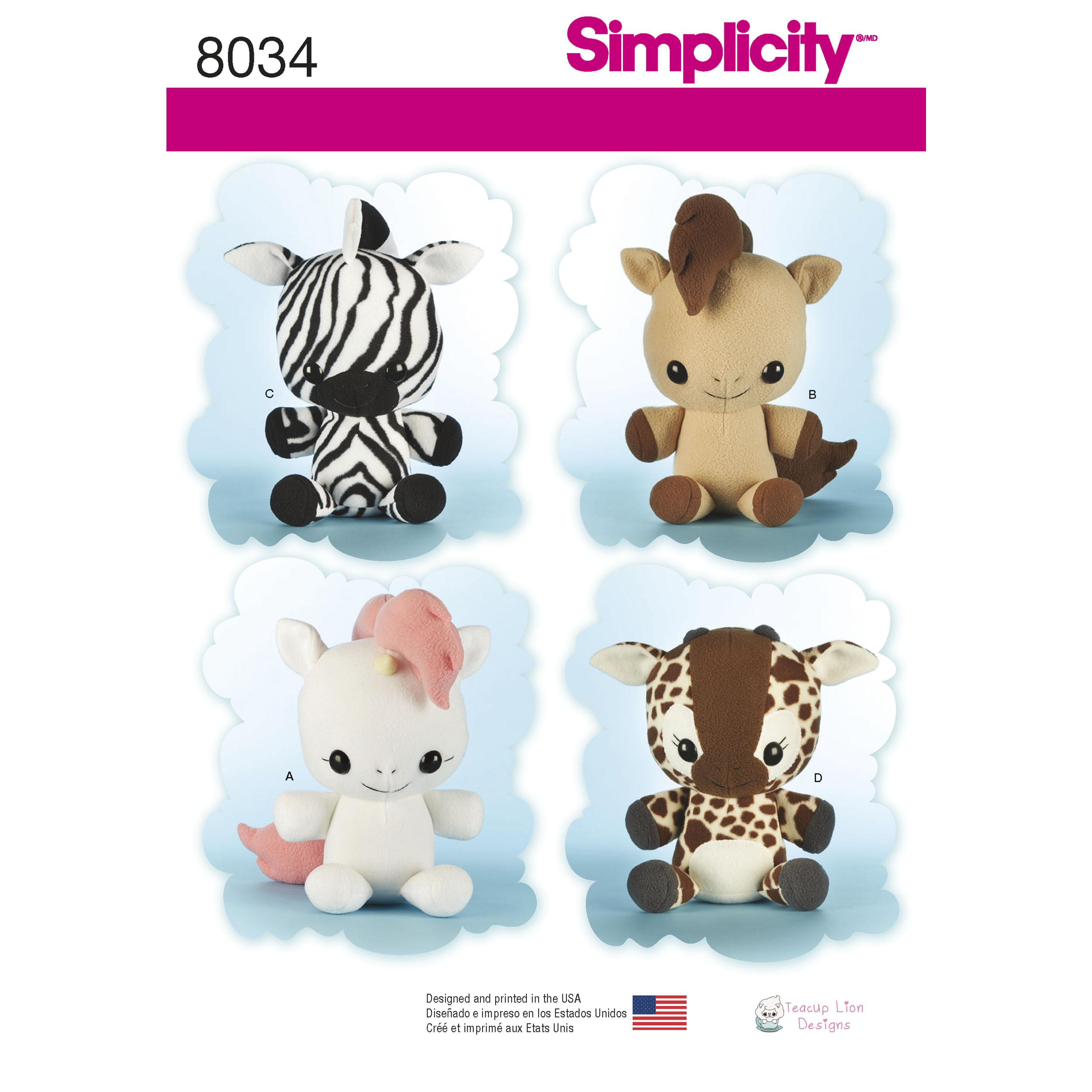 Simplicity S8034 Animal Stuffies