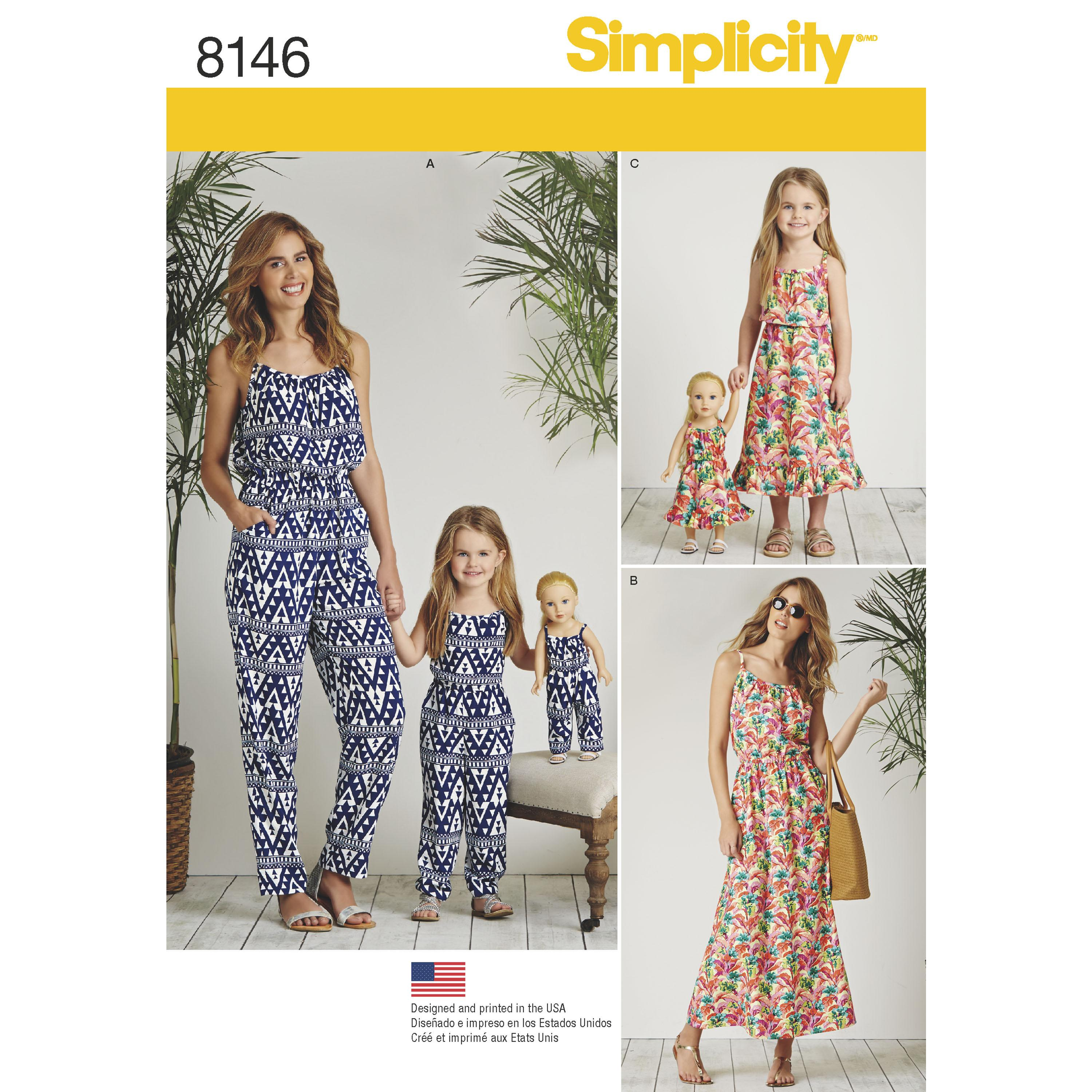 "Simplicity S8146 Matching outfits for Women's, Child and 18"" Doll"