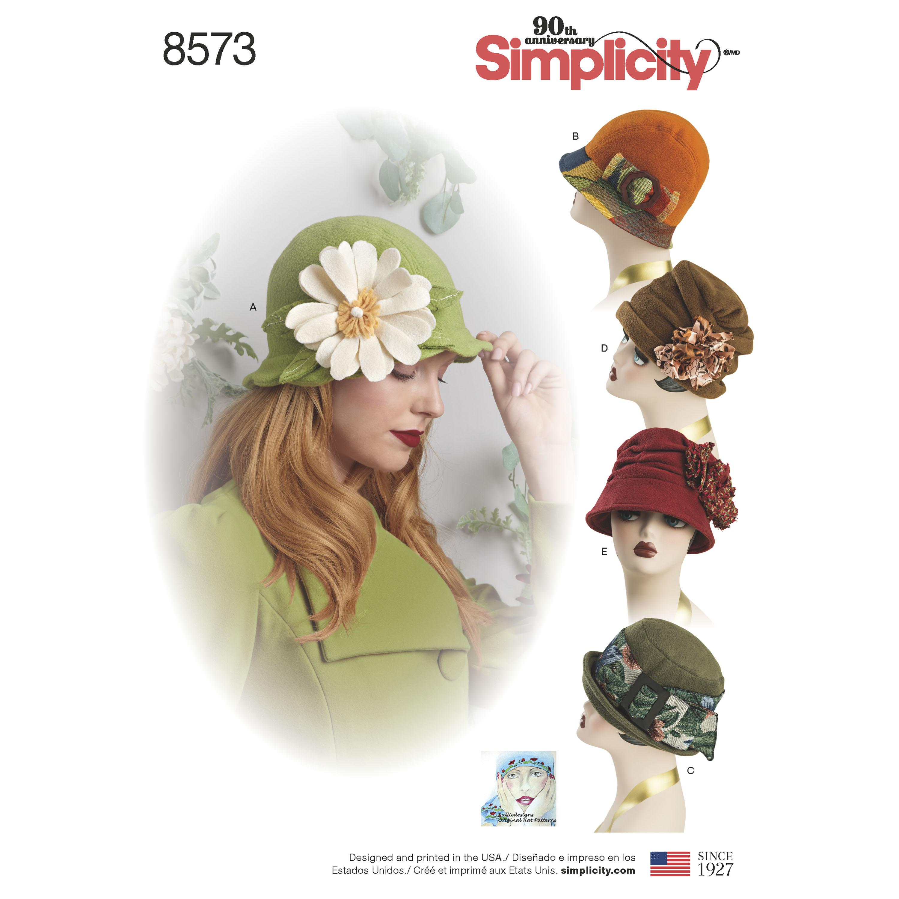 Simplicity S8573 Womens' Flapper Hats in Three Sizes