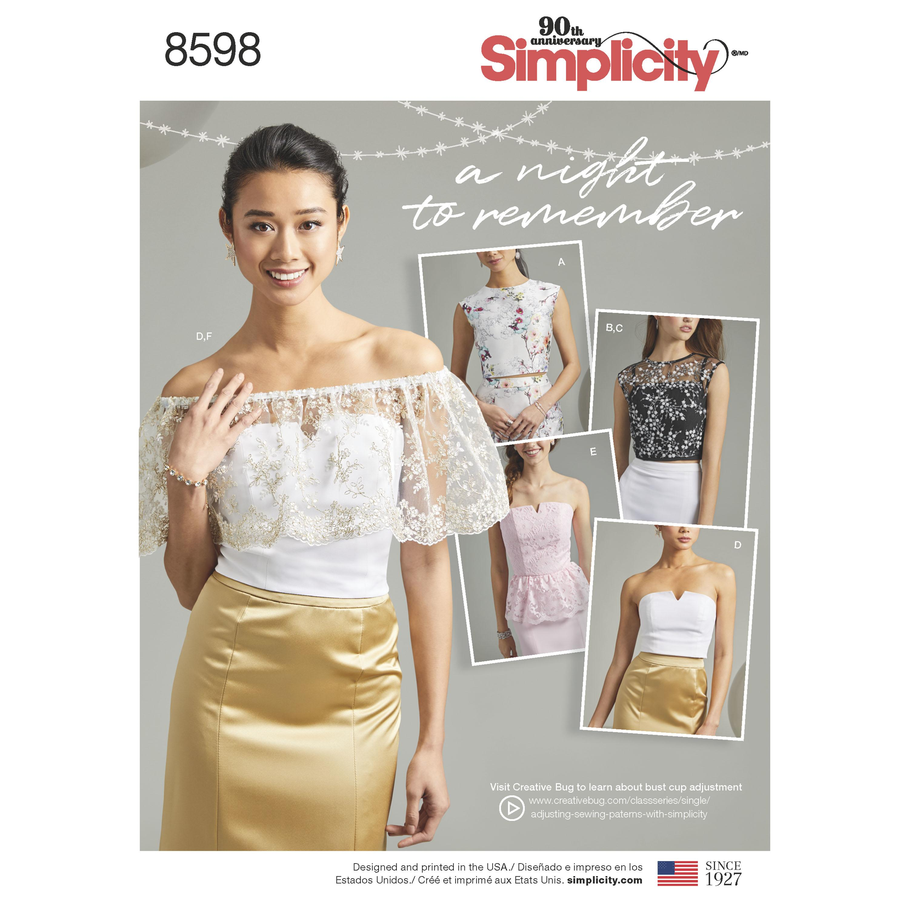 Simplicity S8598 Women's Special Occasion Tops