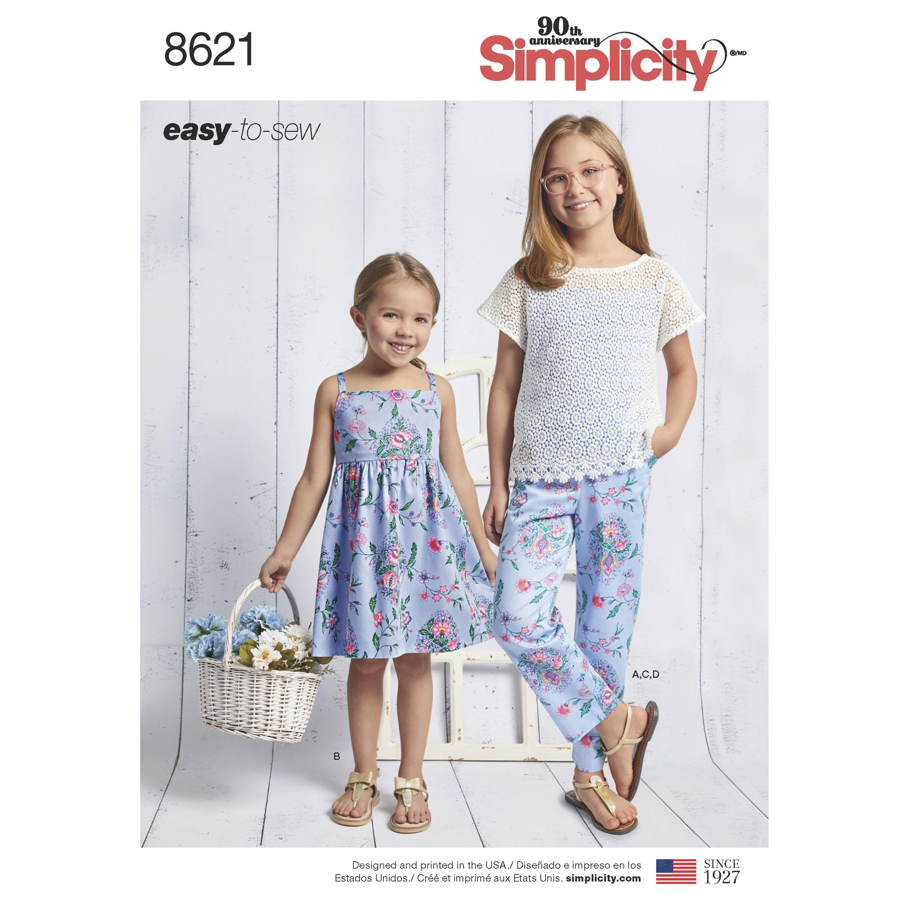 Simplicity S8621 Child's and Girls' Dress, Top, Pants and Camisole