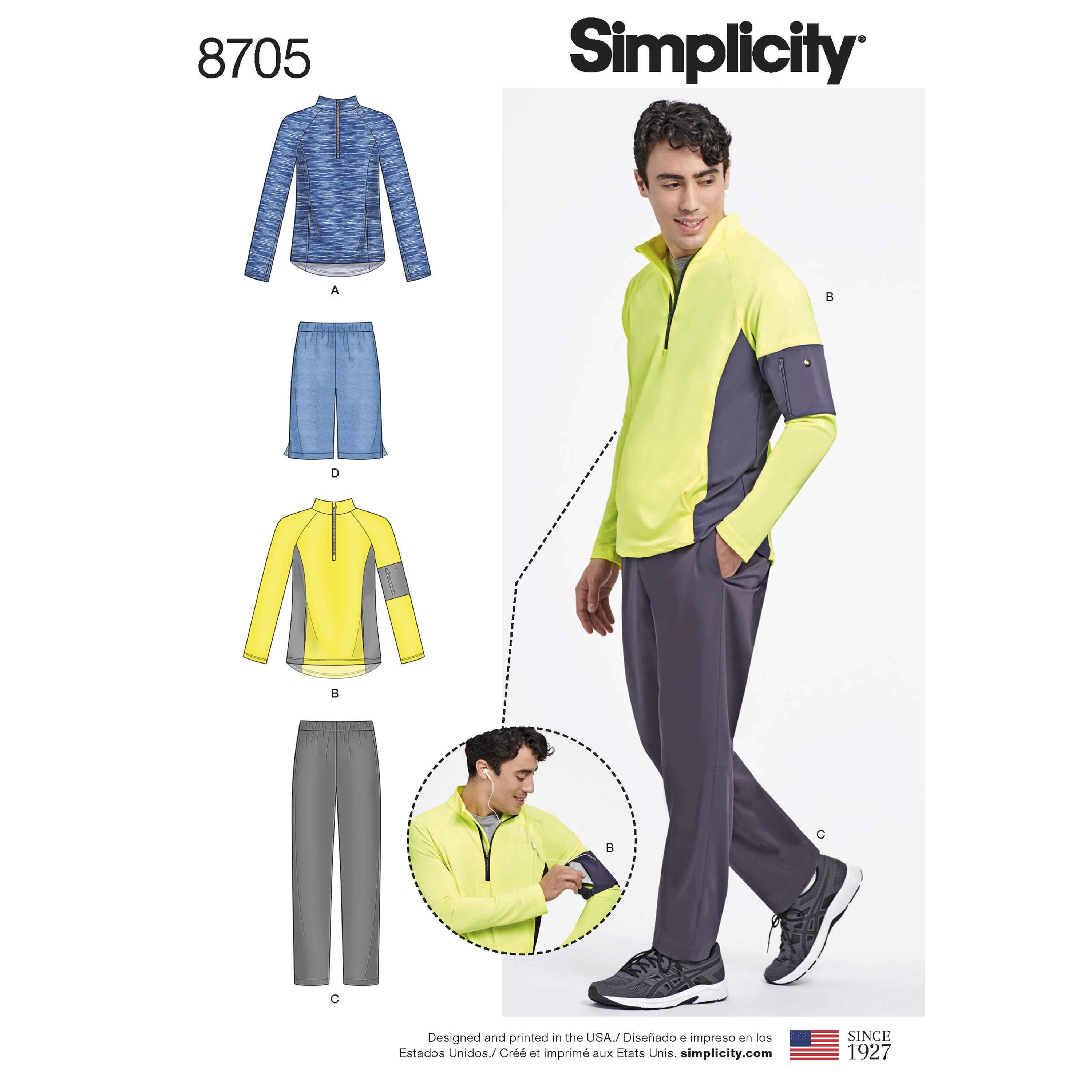 Simplicity S8705 Men's Trousers or Shorts and Knit Pullover Top