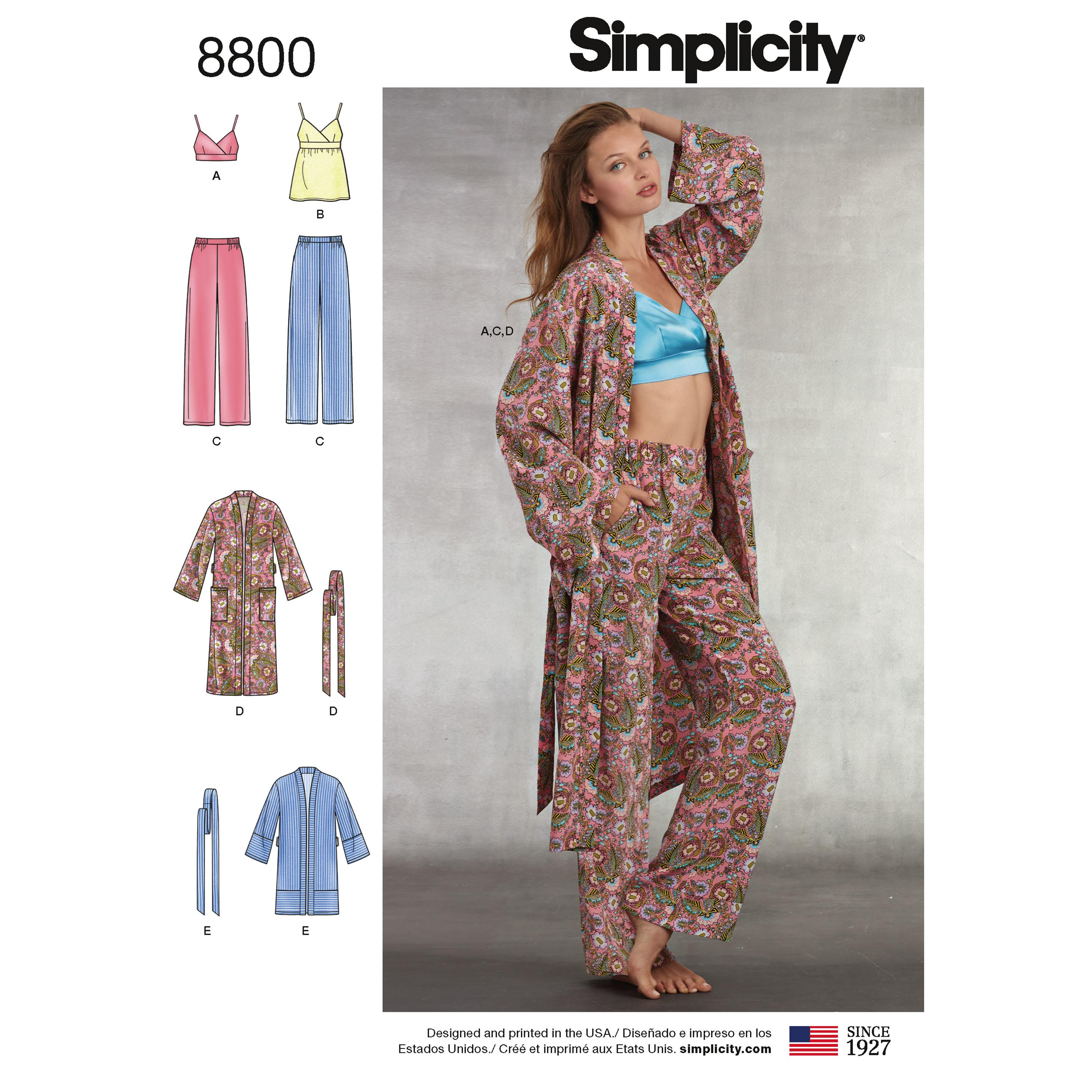 Simplicity S8800 Misses' Robe, Pants, Top and Bralette