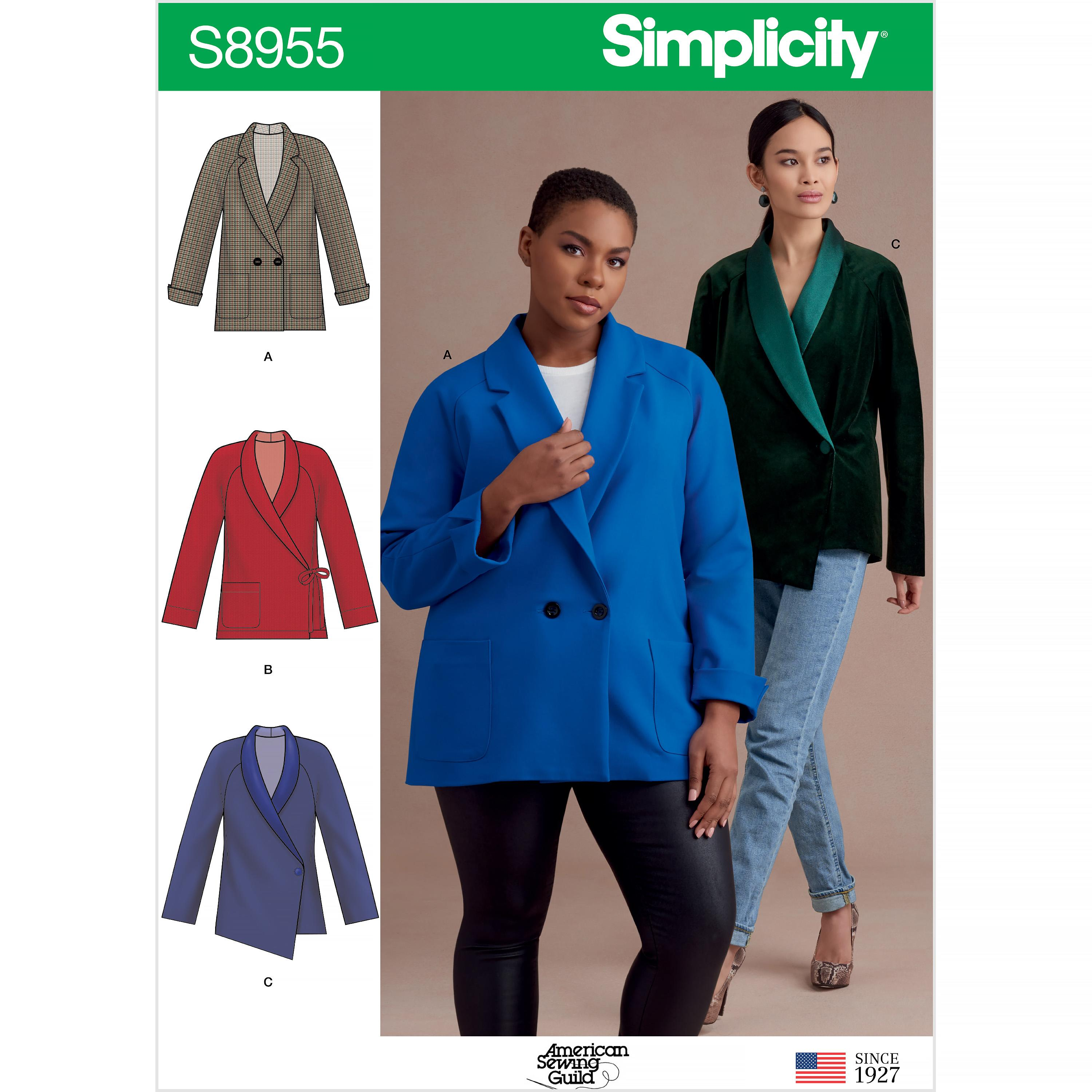 Simplicity S8955 Misses' and Women's Raglan Sleeve Jackets