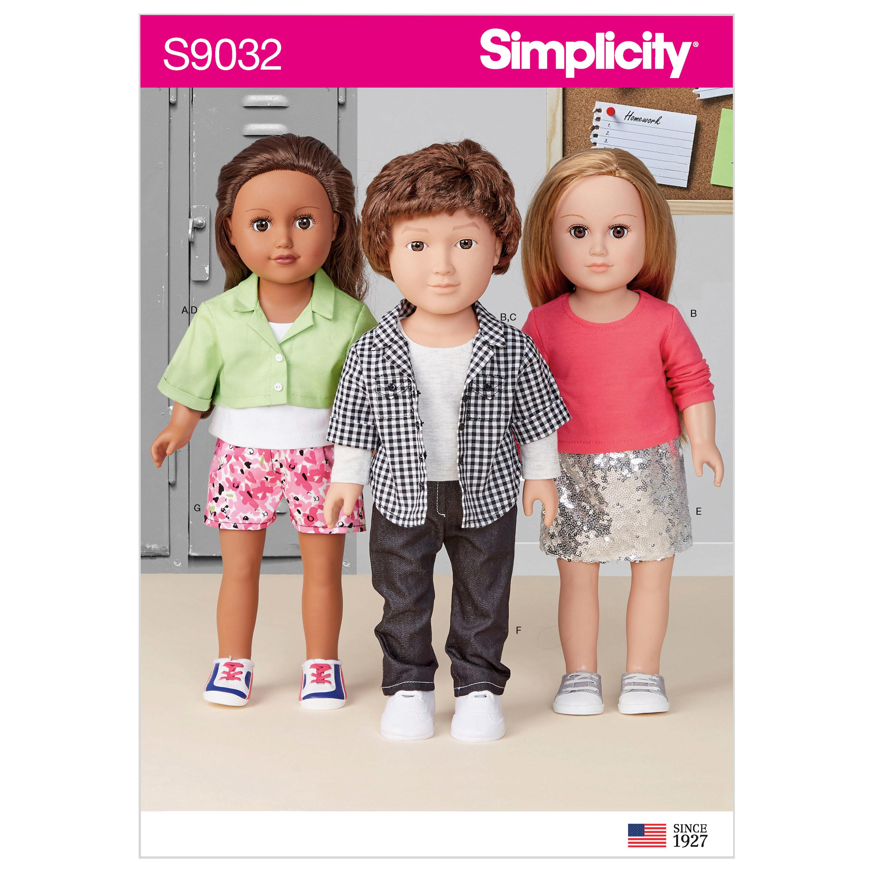 "Simplicity S9032 18"" Unisex Doll Clothes"
