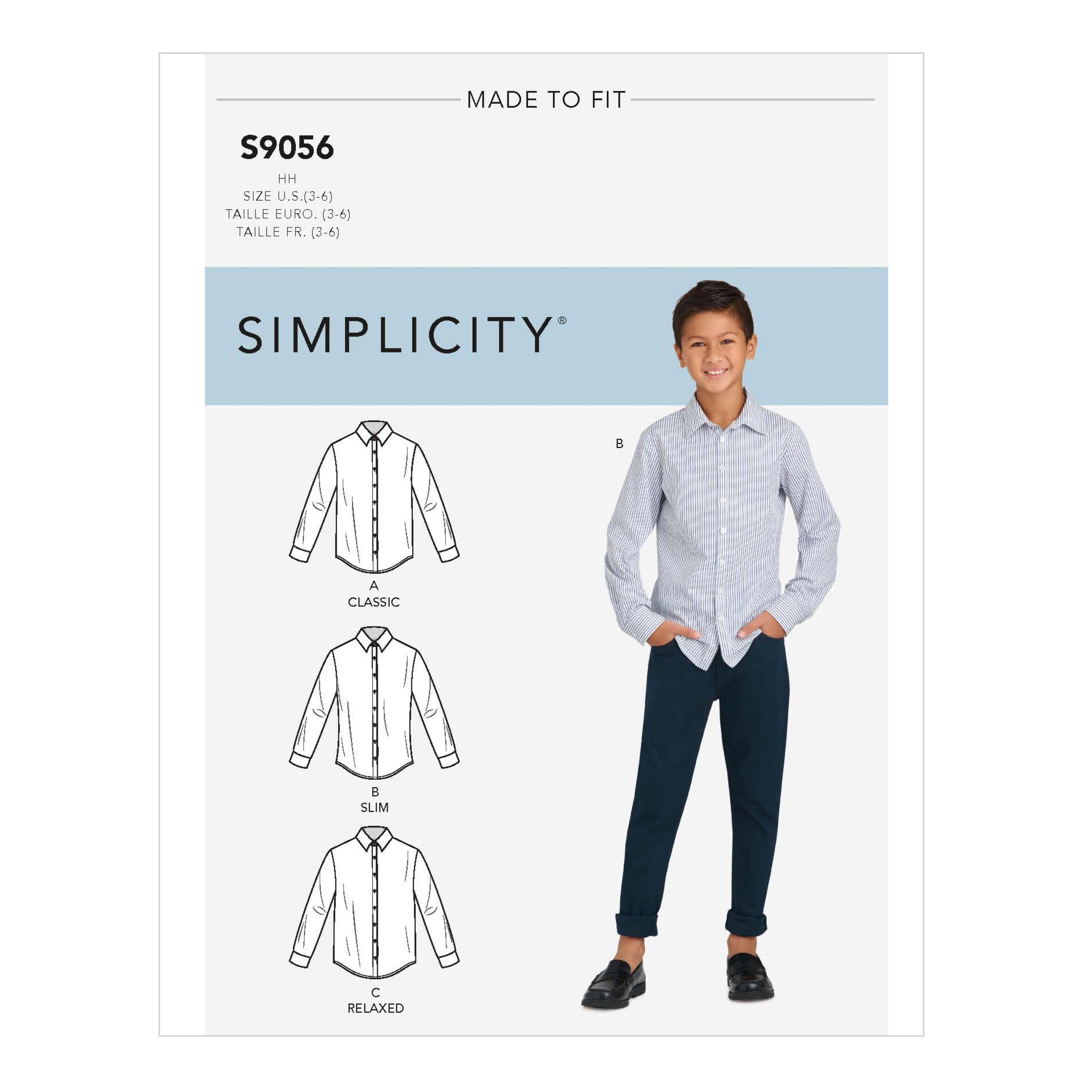 Simplicity S9056 Children's & Teen Boys' Shirts