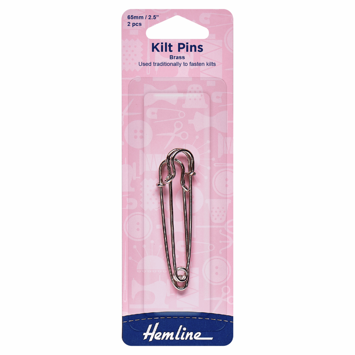 Kilt Pins: 65mm: Nickel: 2 Pieces