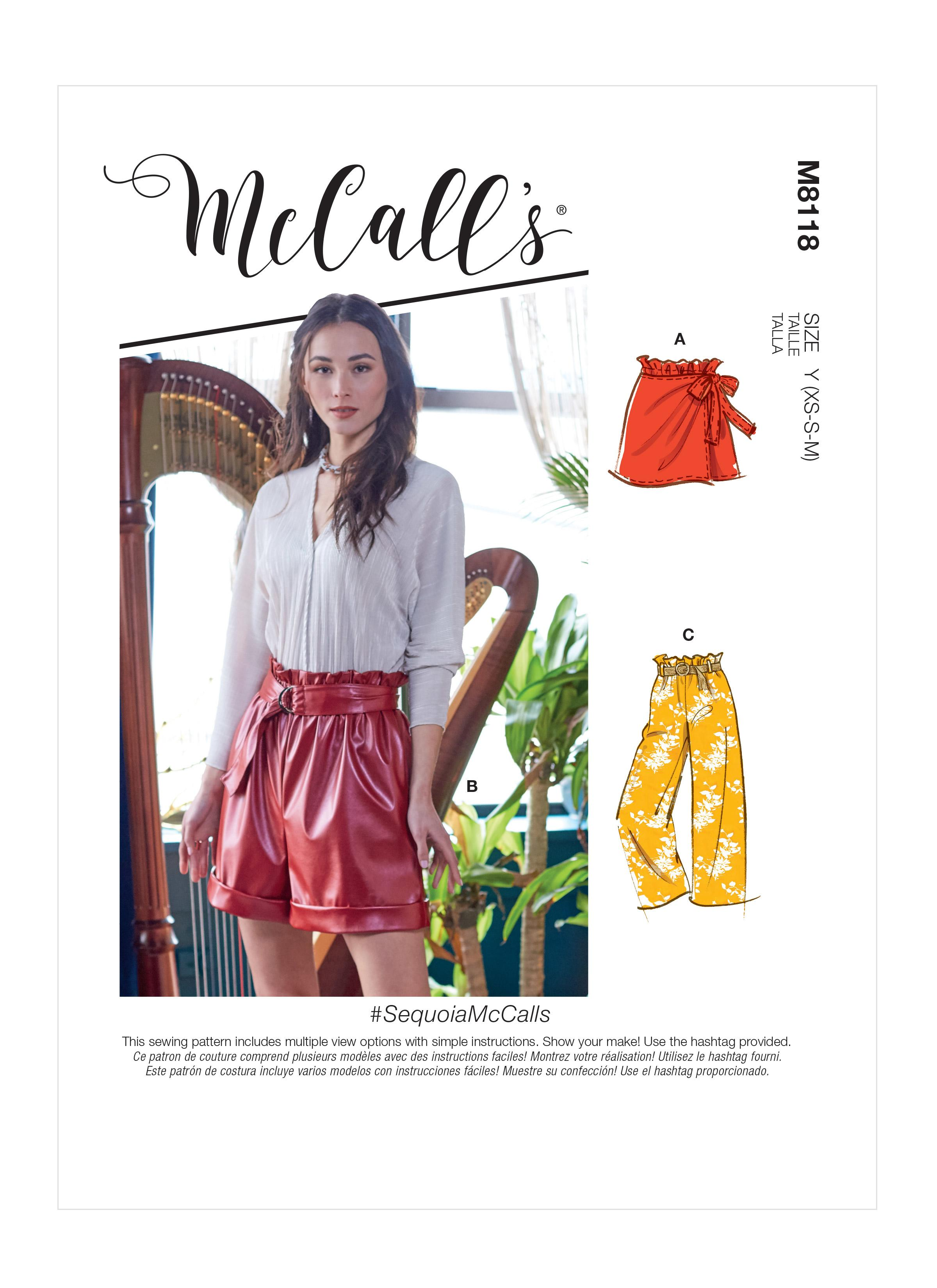 McCalls M8118 #SequoiaMcCalls - Misses' Shorts, Pants & Belt