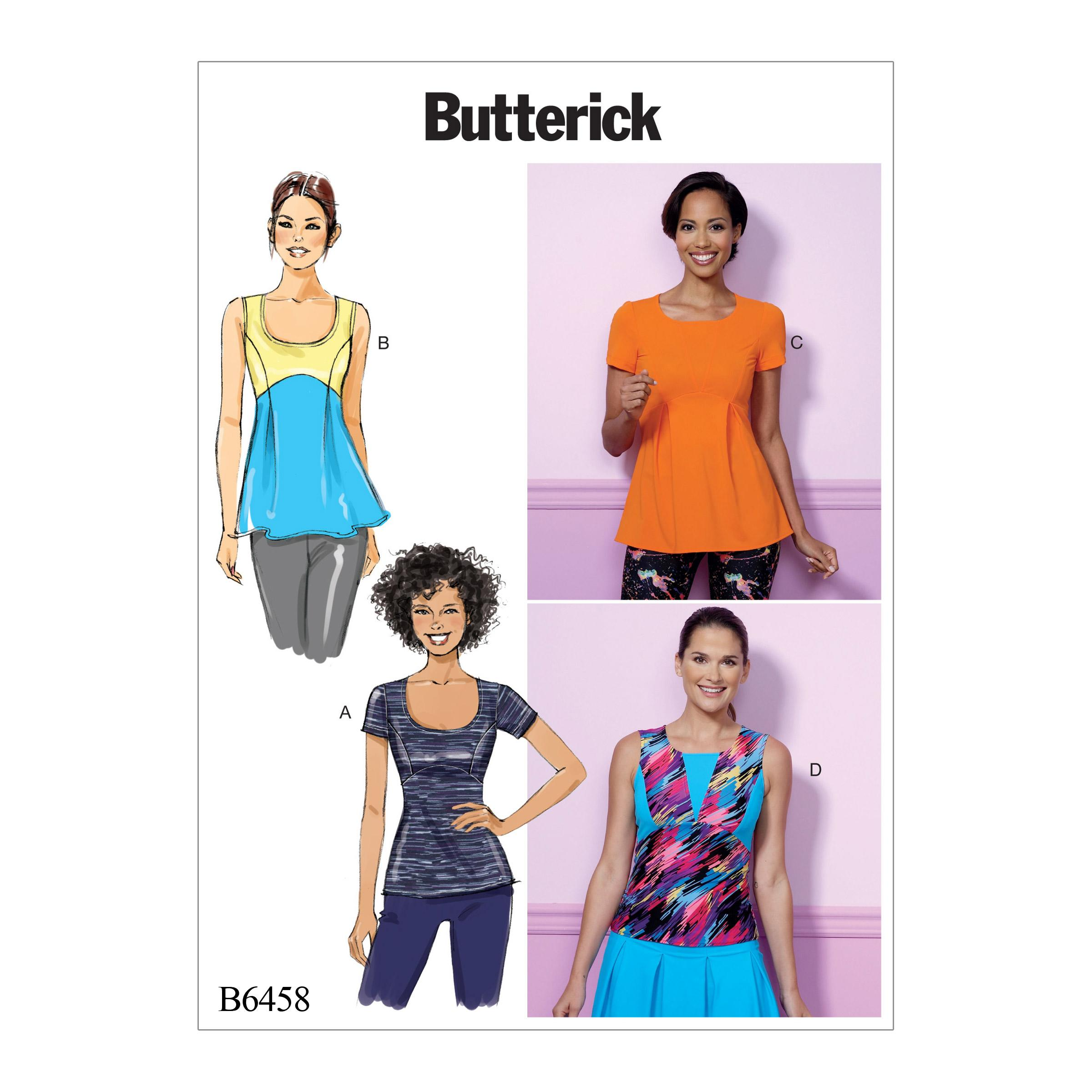 Butterick B6458 Misses' Pullover, Paneled Tops