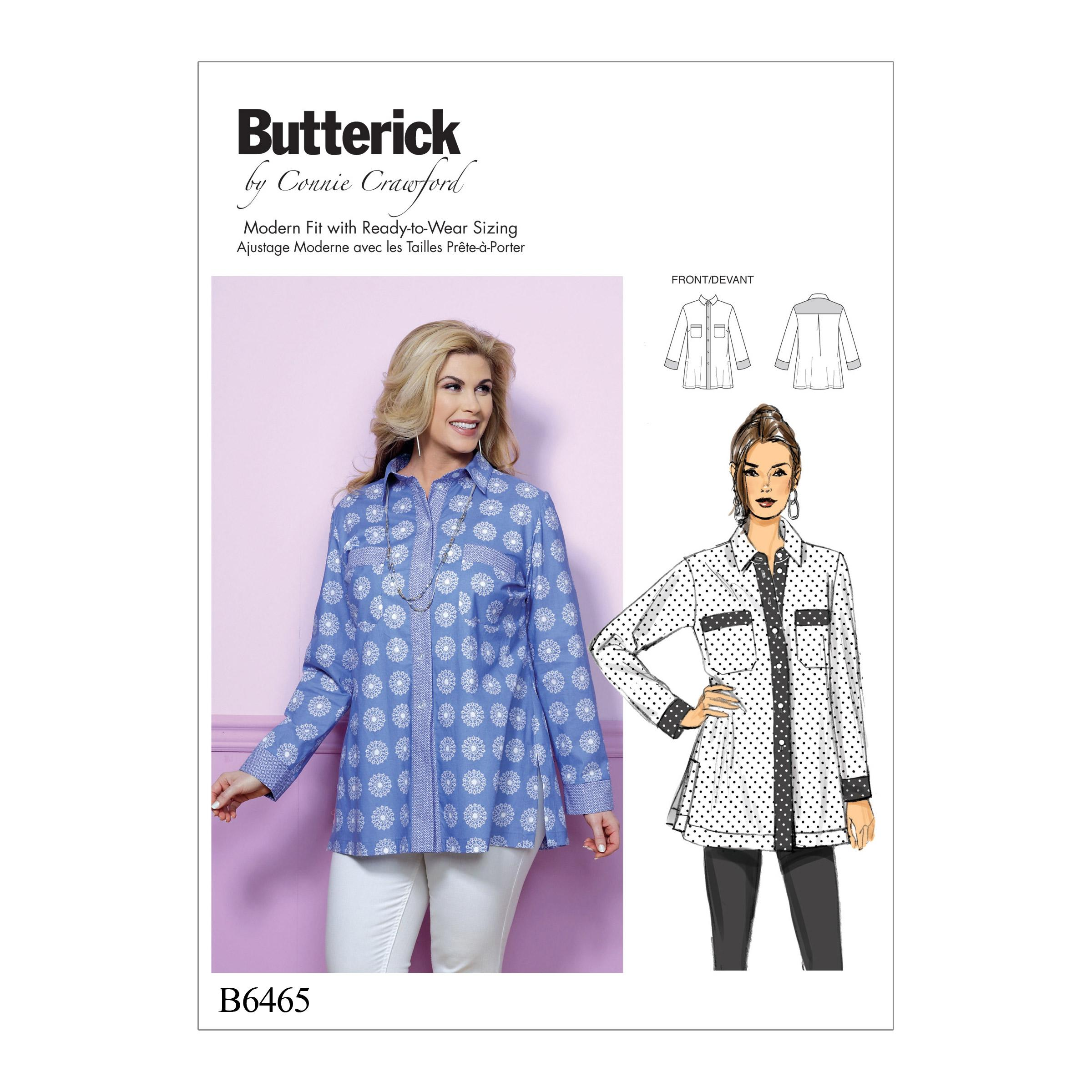 Butterick B6465 Misses'/Women's Button-Down Shirt with Side Slits and Bust Pockets