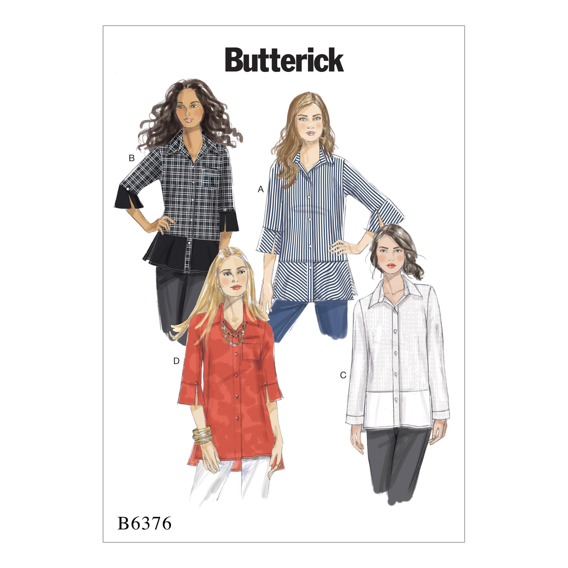 Butterick B6376 Misses' Button-Down Shirts with Side Slits