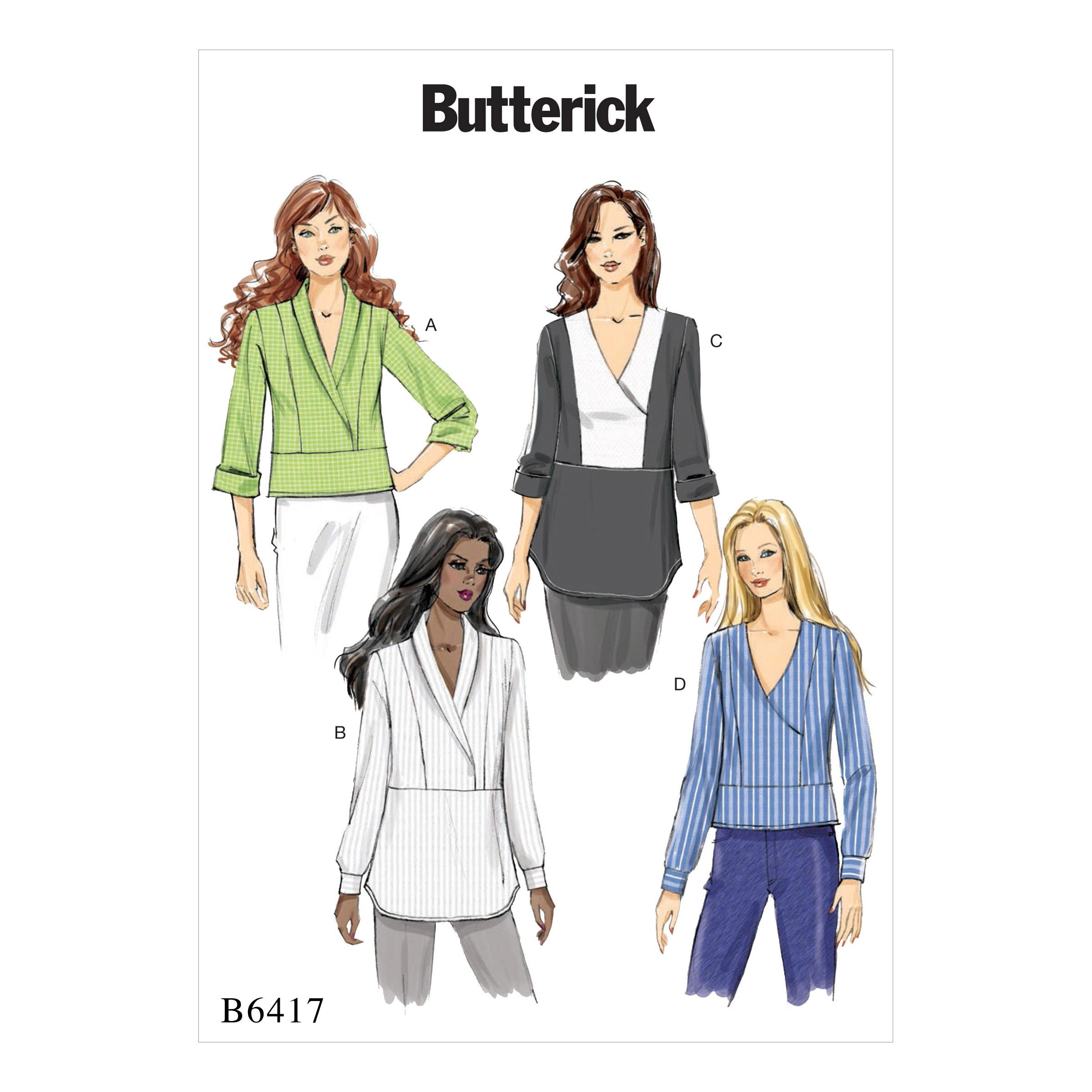 Butterick B6417 Misses' Surplice, Paneled Tops