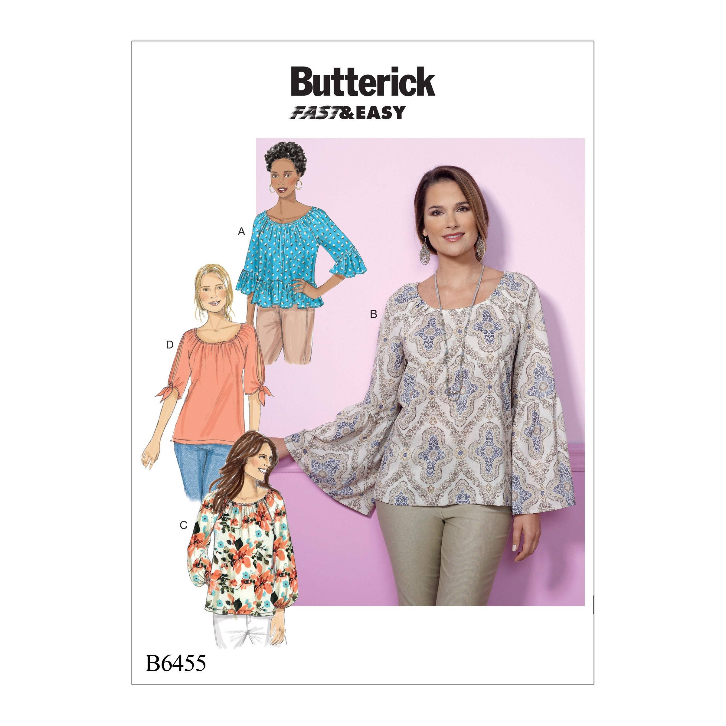 Butterick B6455 Misses' Gathered, Raglan Sleeve Tops