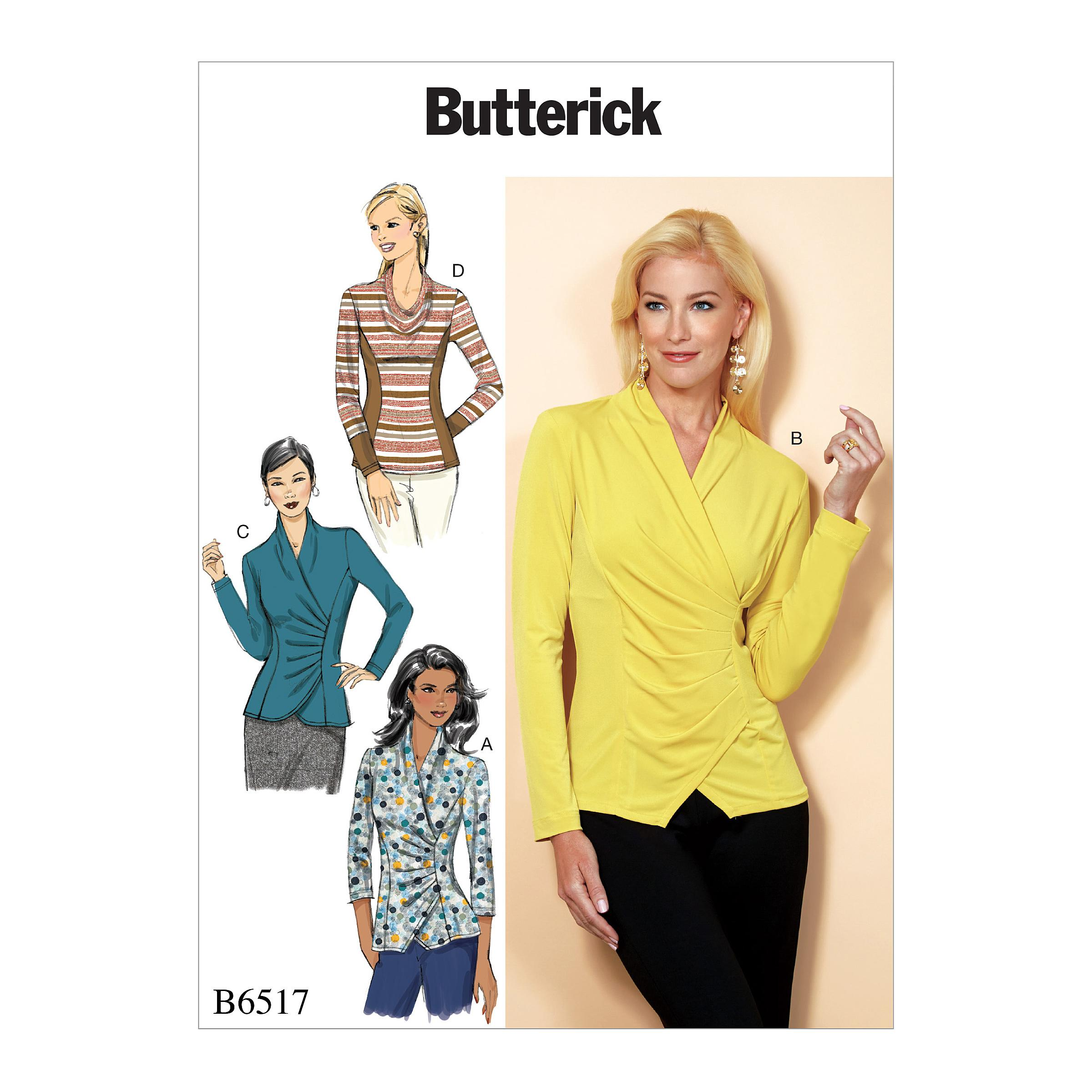 Butterick B6517 Misses' Top with Pleat and Options