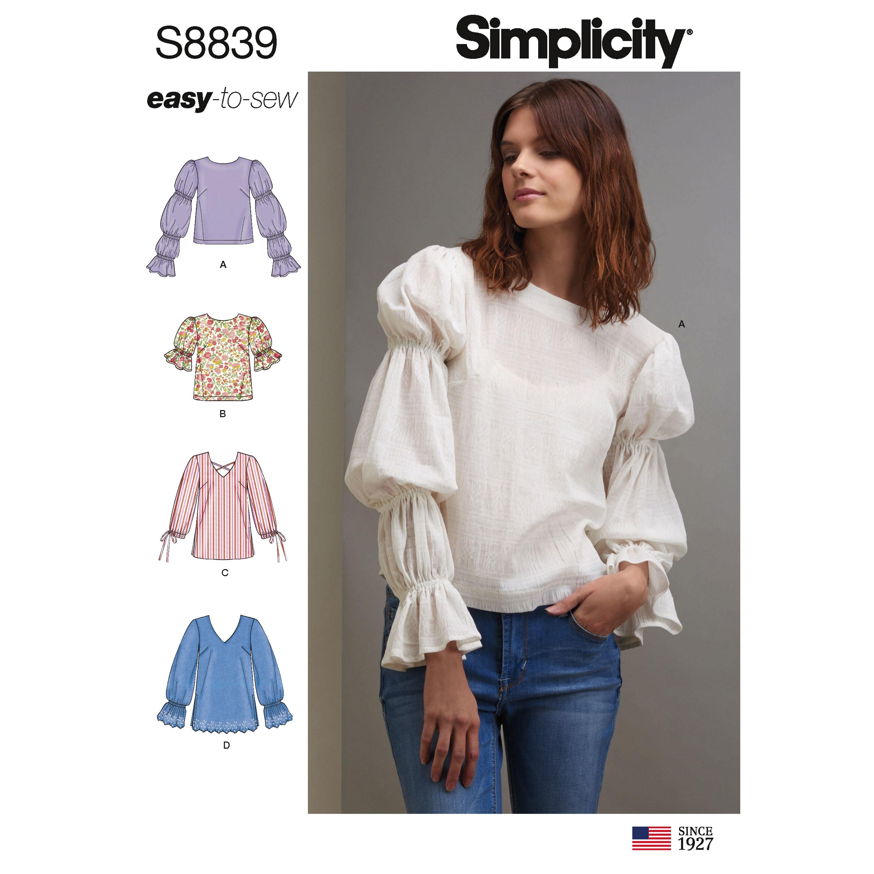 Simplicity S8839 Misses' Pullover Tunic or Tops