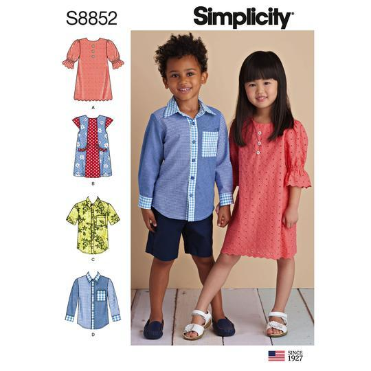 Simplicity S8852 Child's Dresses and Shirt