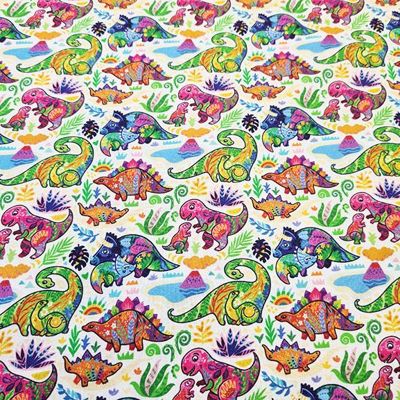 Colourful Dinosaurs Digital Cotton