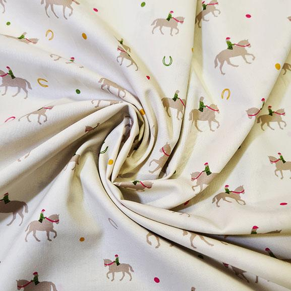 Horses on a cream back ground Cotton Lawn