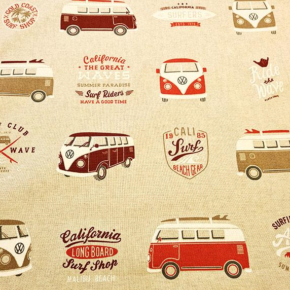 VW Camper Van Linen Look Canvas