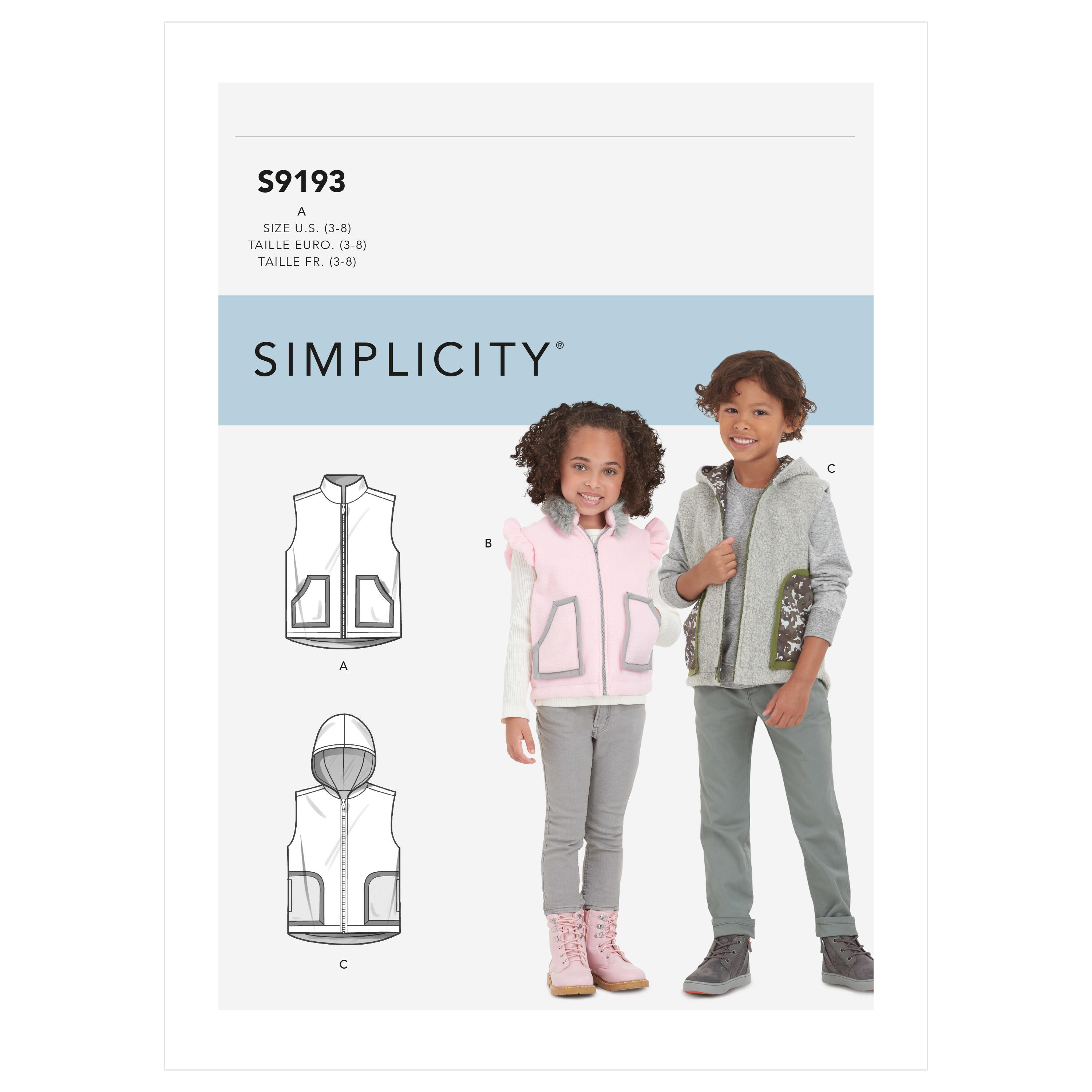 Simplicity Sewing Pattern S9193 Children's Vest