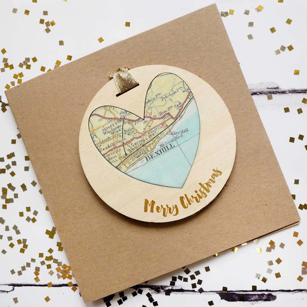 Personalised Merry Christmas Map Keepsake Card