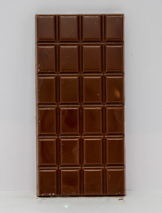 34% cocoa milk chocolate bar, top view
