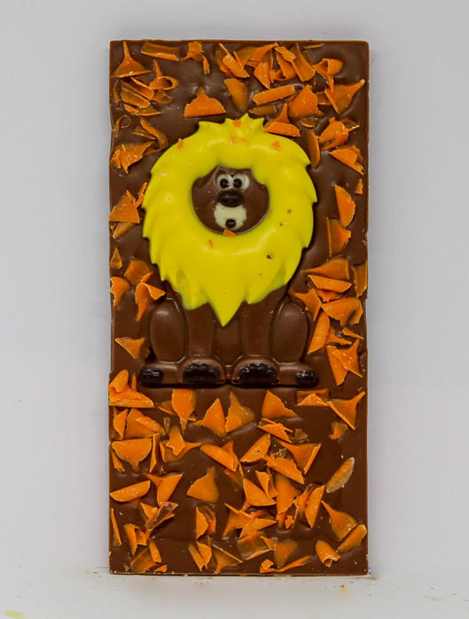 34% milk chocolate with a chocolate lion and orange curls