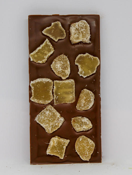 34% milk chocolate with crystallized ginger pieces