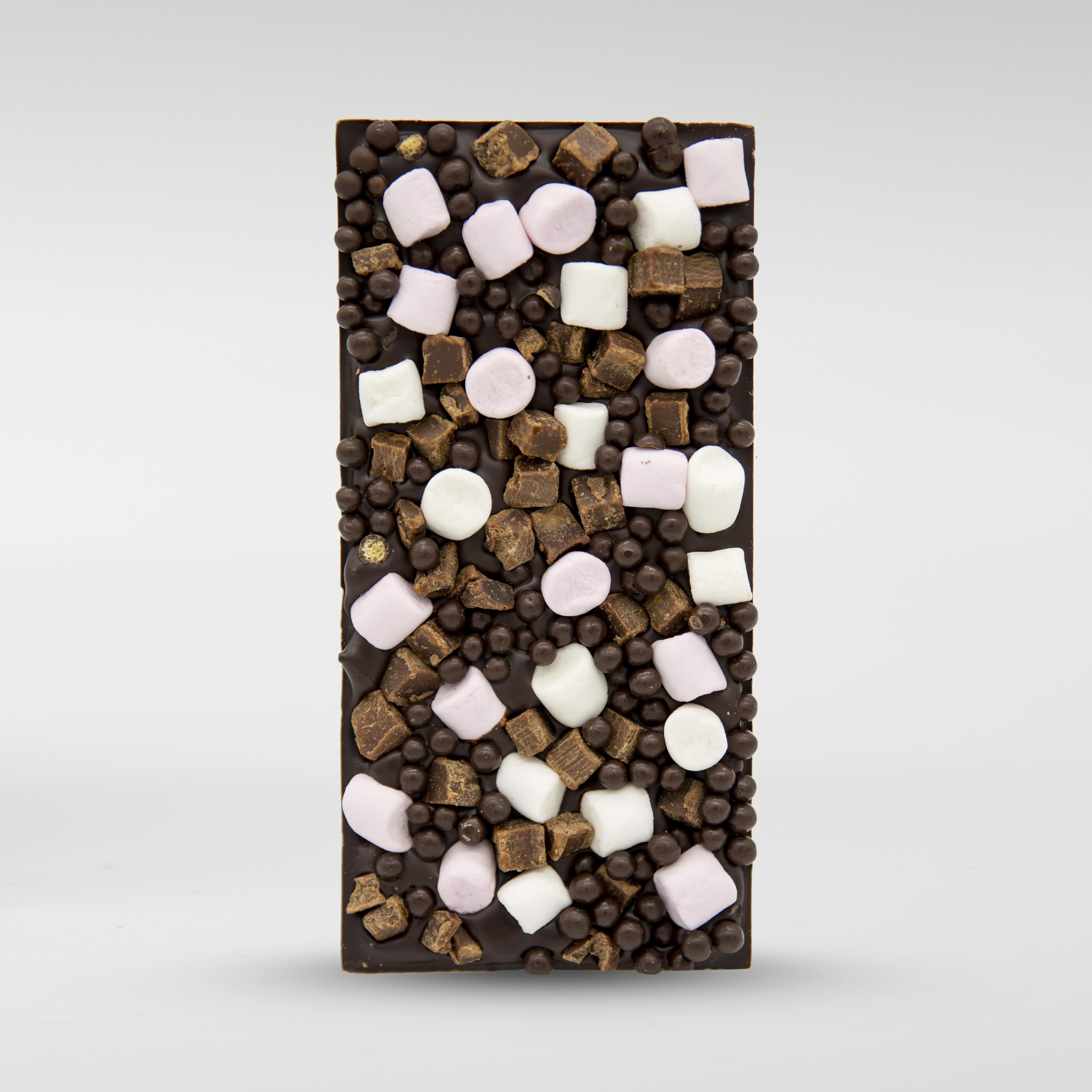 70% cocoa dark chocolate bar, top view