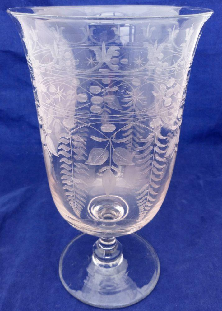 Antique Victorian Engraved Glass Celery Vase with ferns and geometric scrolls and stars on a Bell Shaped bowl sat on a Baluster Stem  with plain foot circa 1870