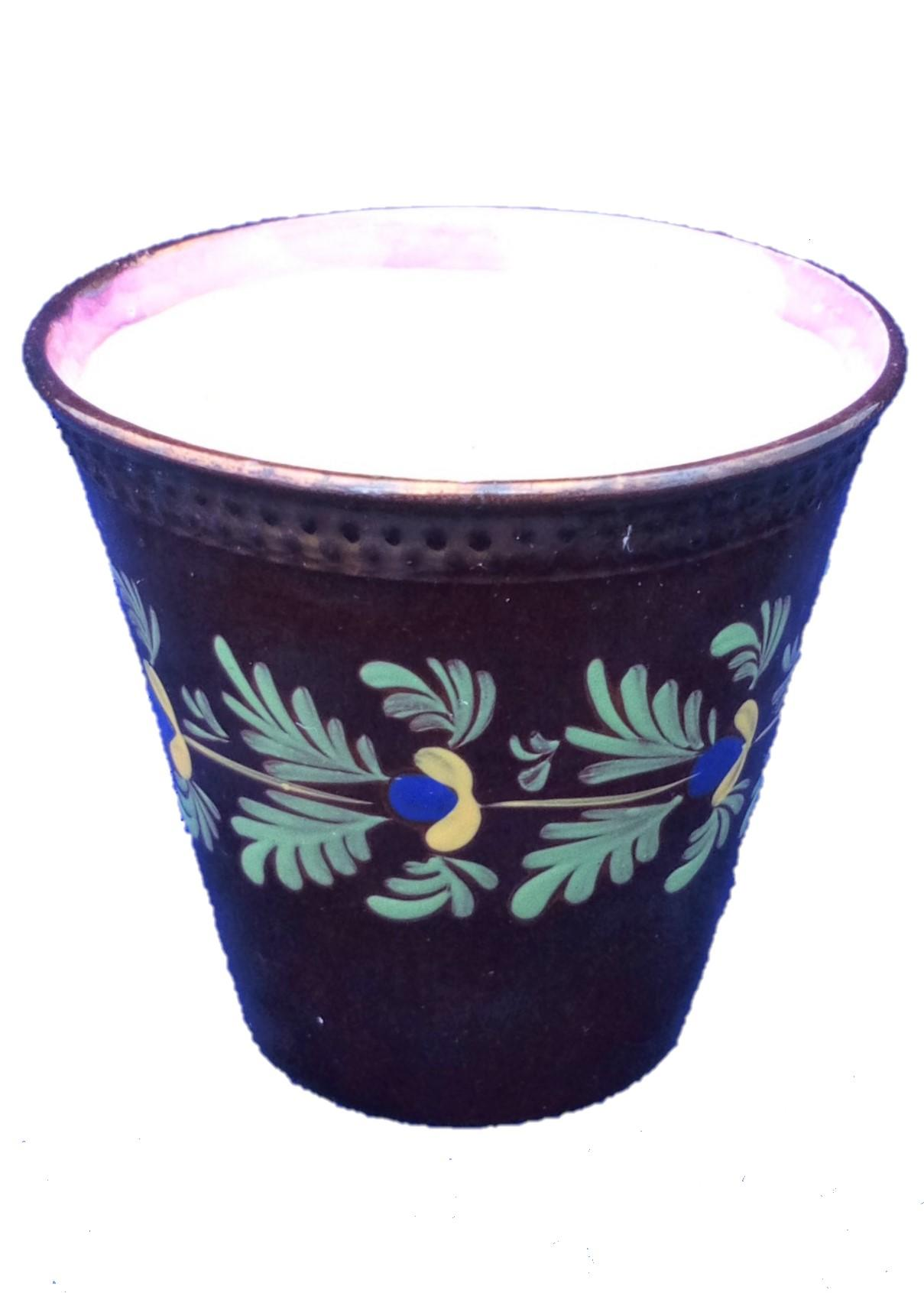 Antique Victorian Hand Painted Copper Lustre Ale Beaker Cup with Pink Lustre Rim circa 1840