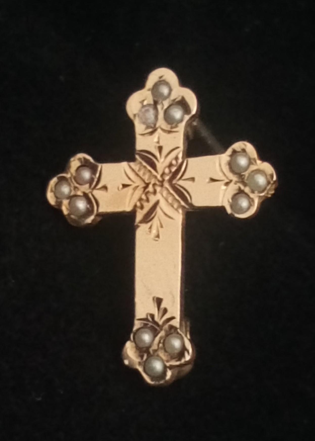 Antique Victorian 9ct Gold Front and Seed Pearl Tiny Cross Brooch or Pin c 1890