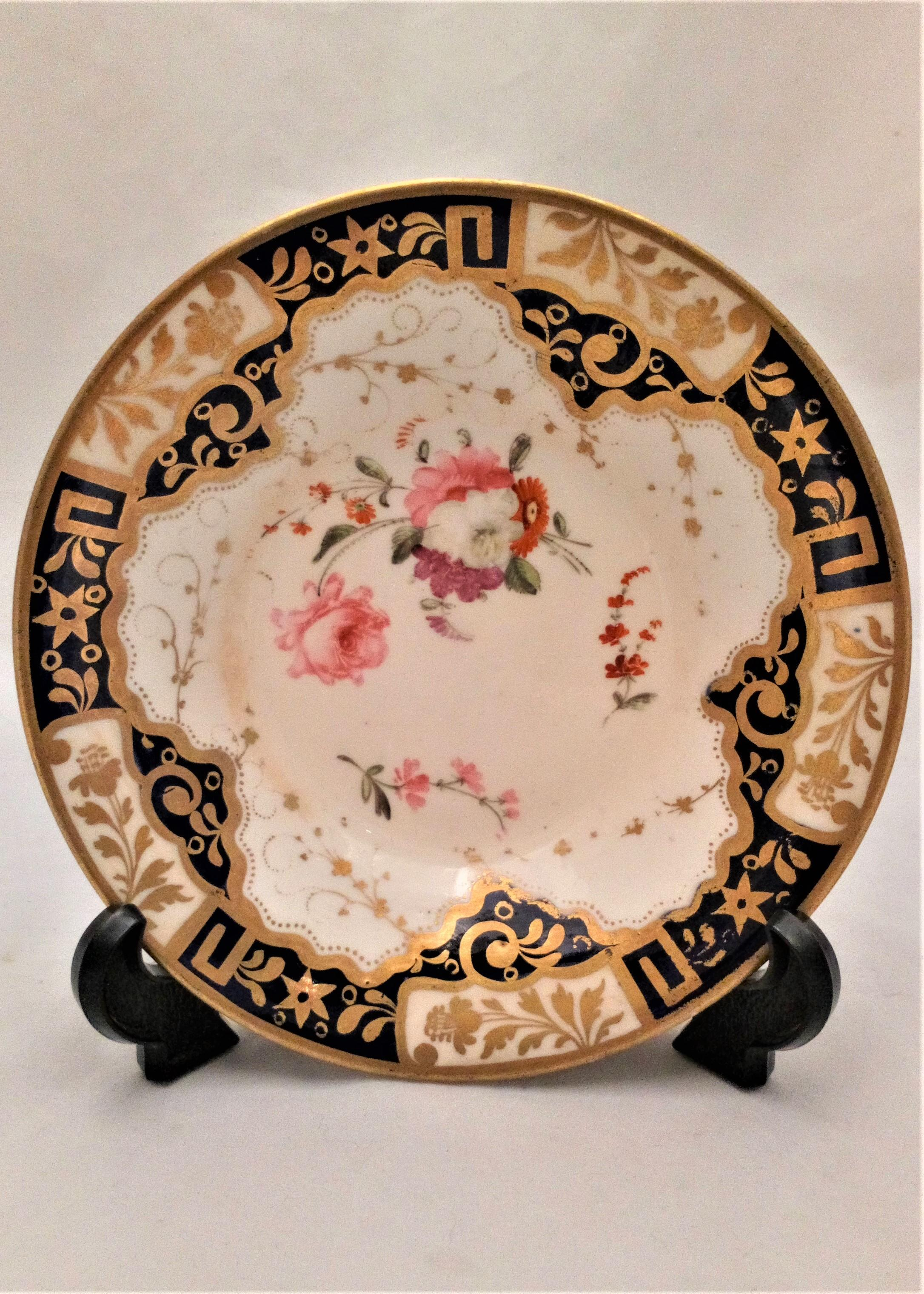 Antique Regency Porcelain Hand Painted Saucer Pattern 812 attributed to Yates circa 1820