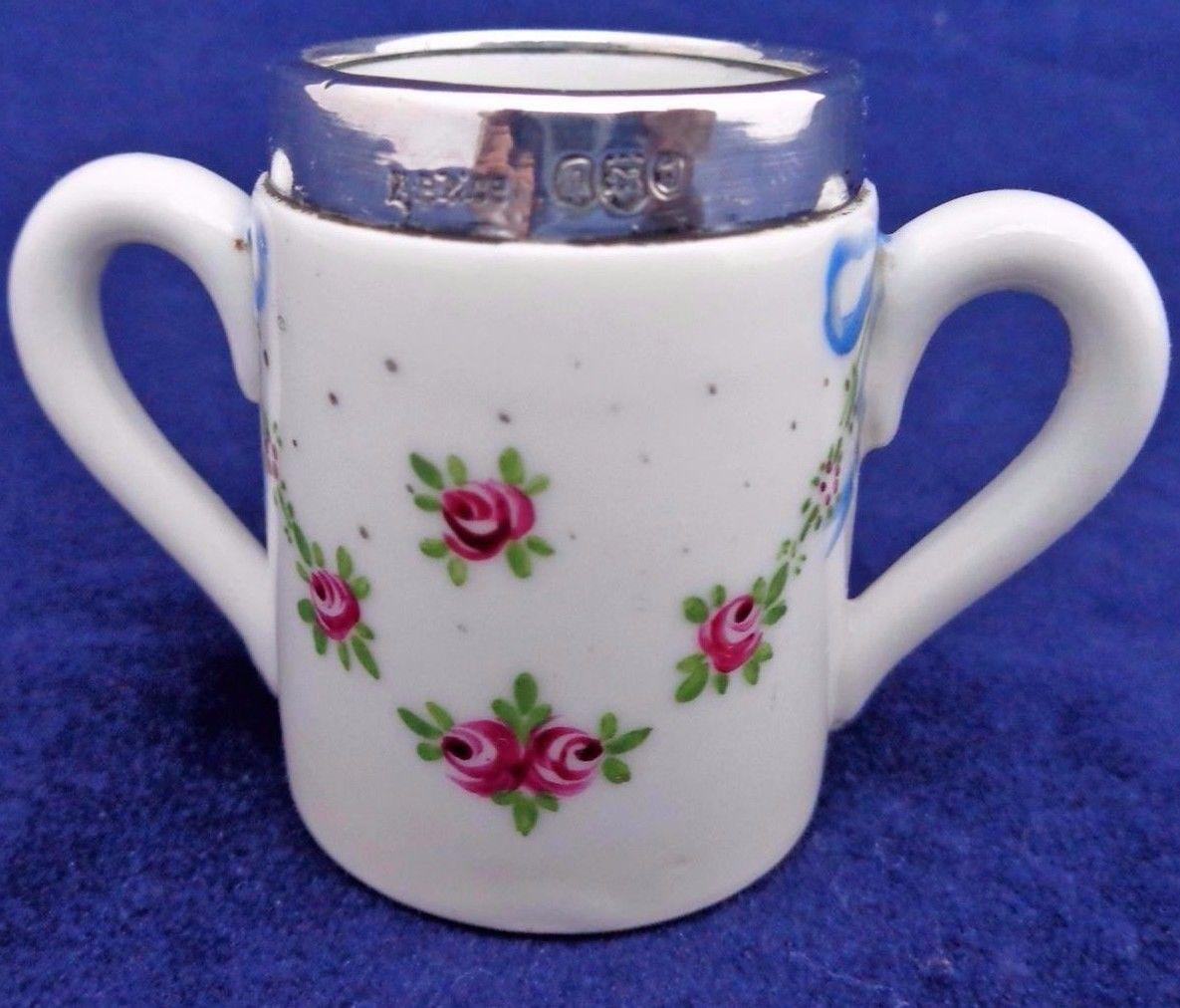 Antique Silver Rimmed Hand Painted Miniature Porcelain Loving Cup HM London 1906