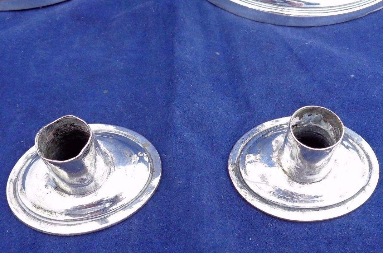 Pair Antique Georgian Style Silver Plate on Copper Boat Shape Candlesticks B & W