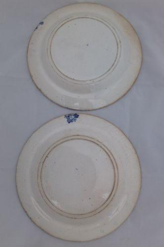 Pair Antique Pottery Blue and White Plates Wild Rose Nuneham Courtenay c 1825