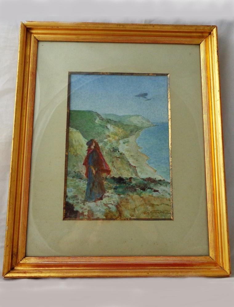 Antique Watercolour Bleriot Monoplane Dover Cliffs W H Humphris 1909 Framed