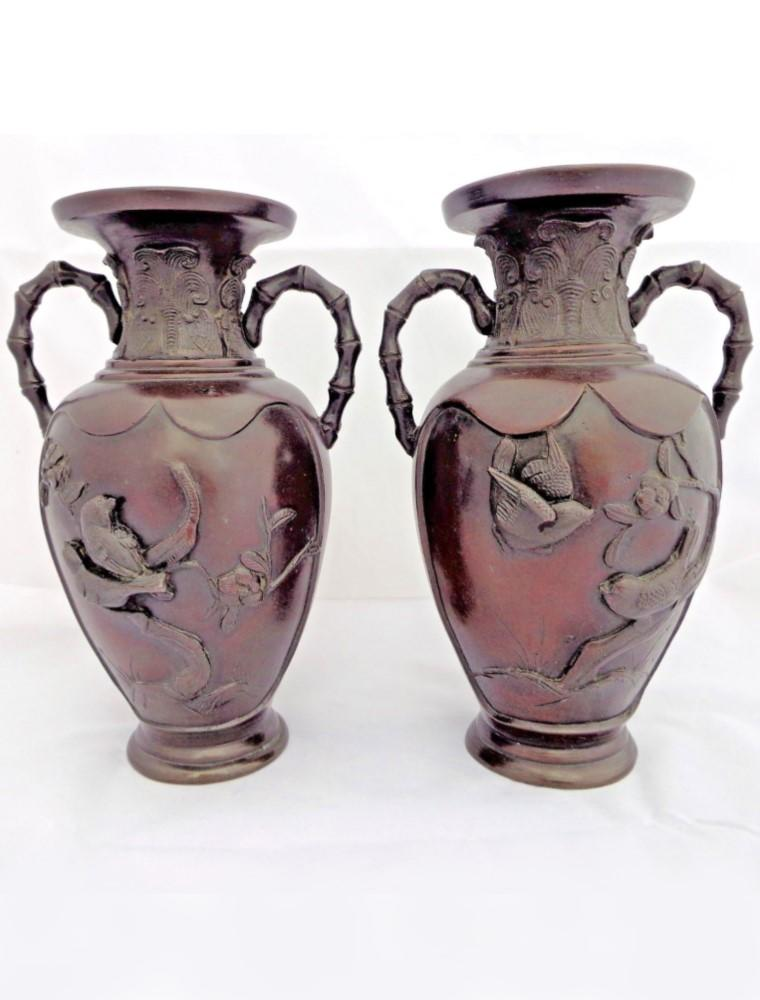 Antique Japanese Bronze Pair of Vases Kakiemon Birds Design 19th C Meiji 8.25""
