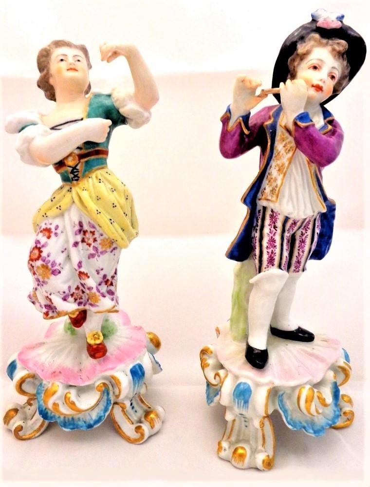 Antique Porcelain Figurines Edme Samson Copies Bow 1765 Rococo Pair Late 19th C