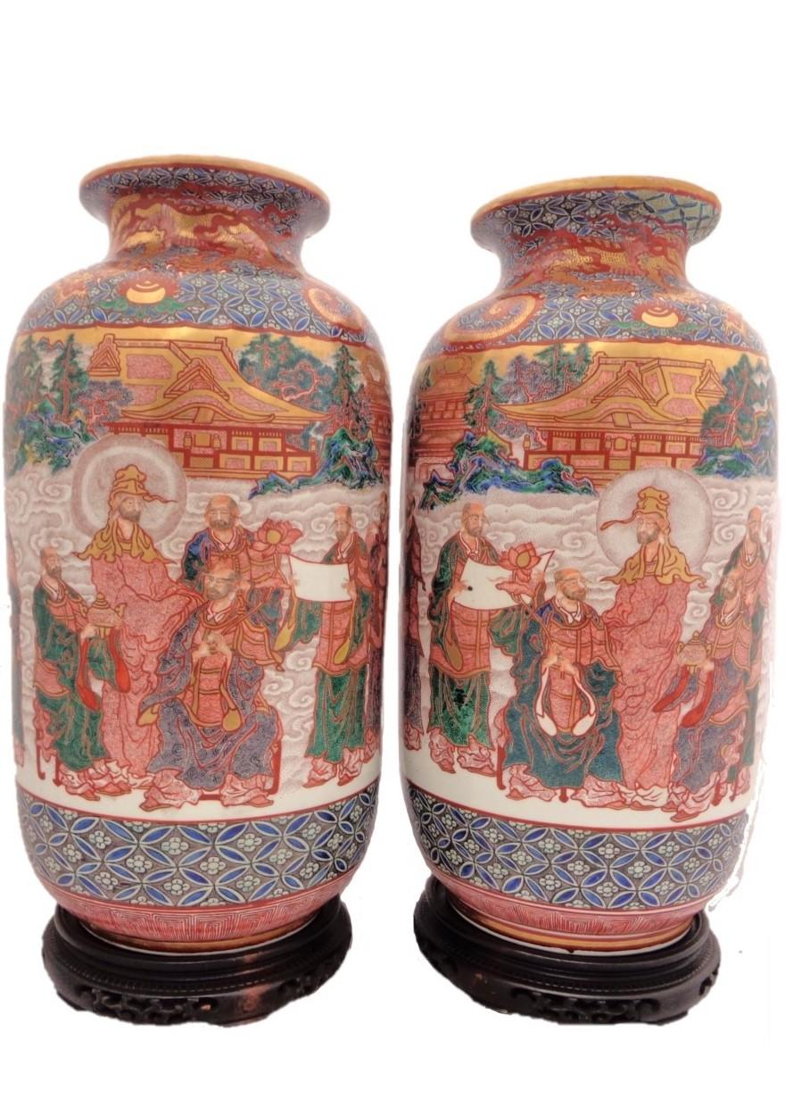 Pair Kutani Vases Antique Japanese Hyoyu Hand Painted Porcelain Vases Meiji 20""