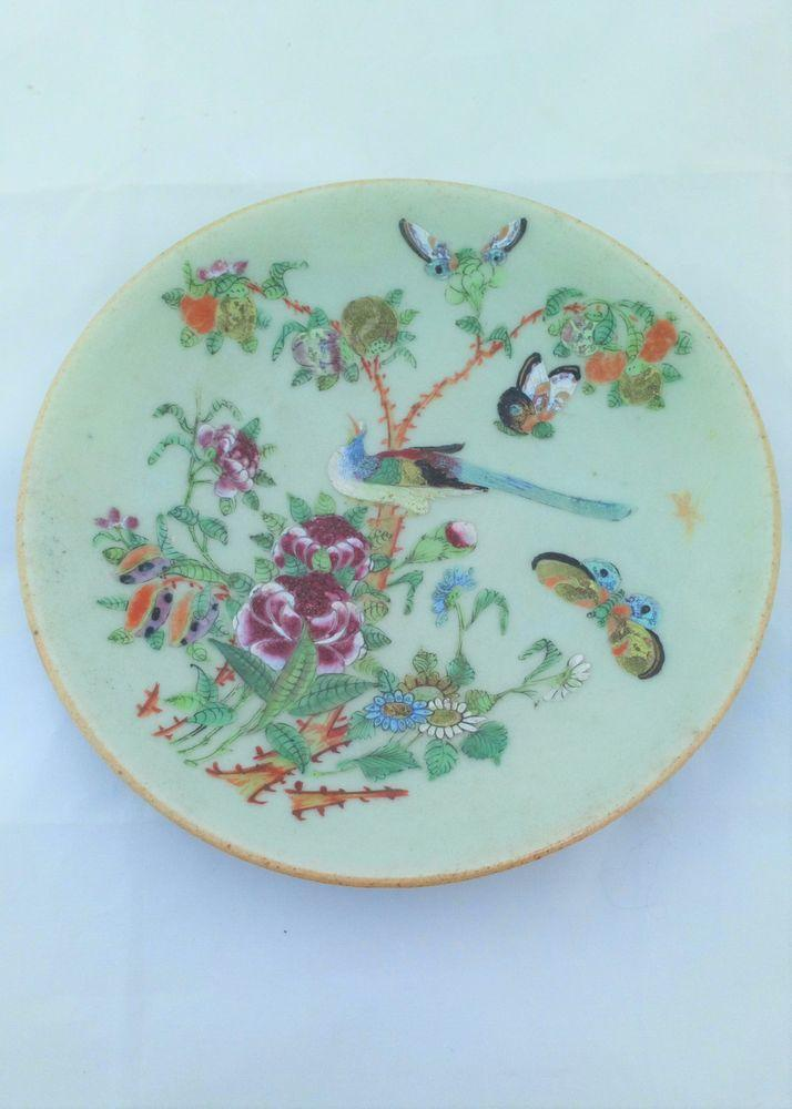 Chinese Canton Celadon Plate Painted Bird and Butterflies 19th C Antique